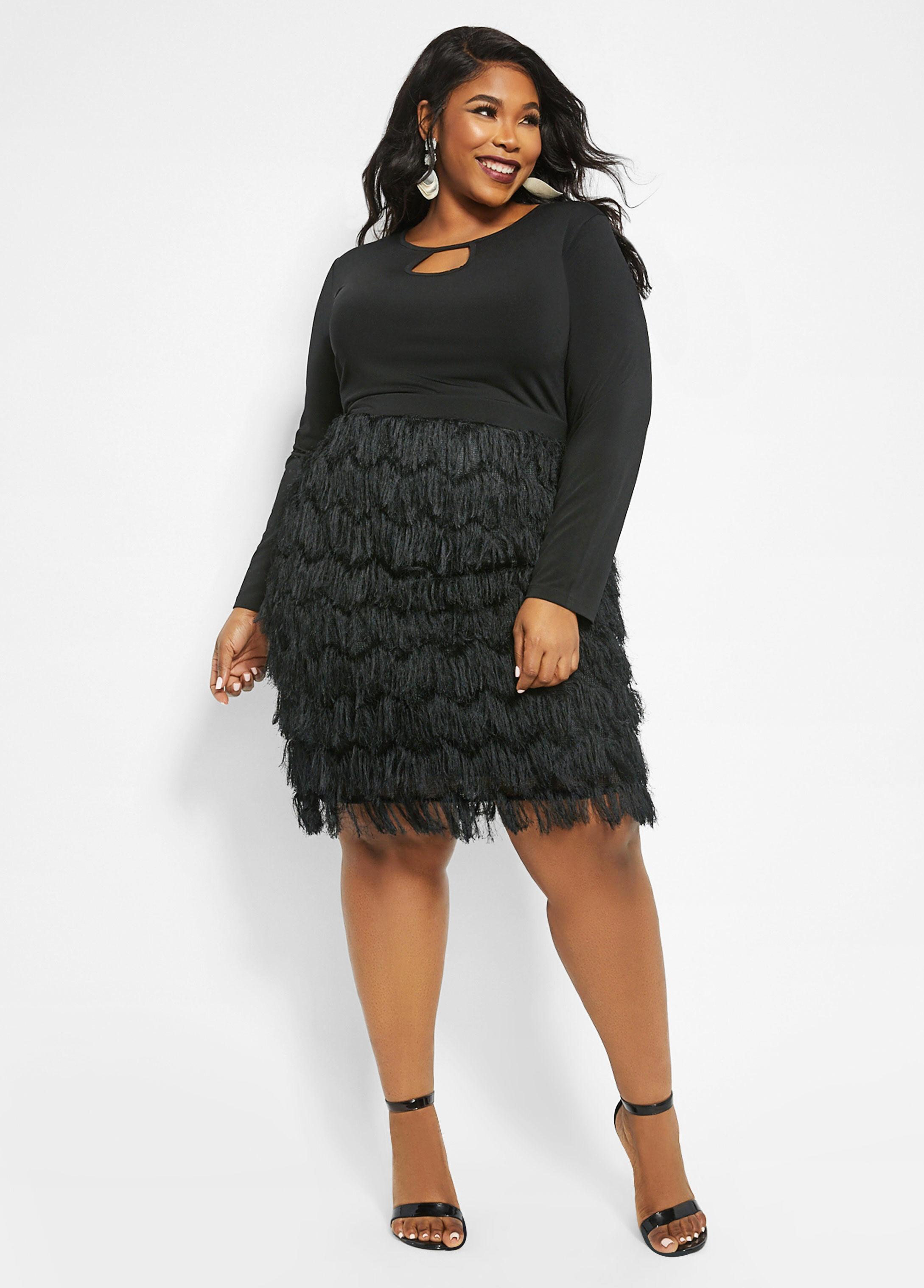 Plus Size Keyhole Fringe Skirt Dress