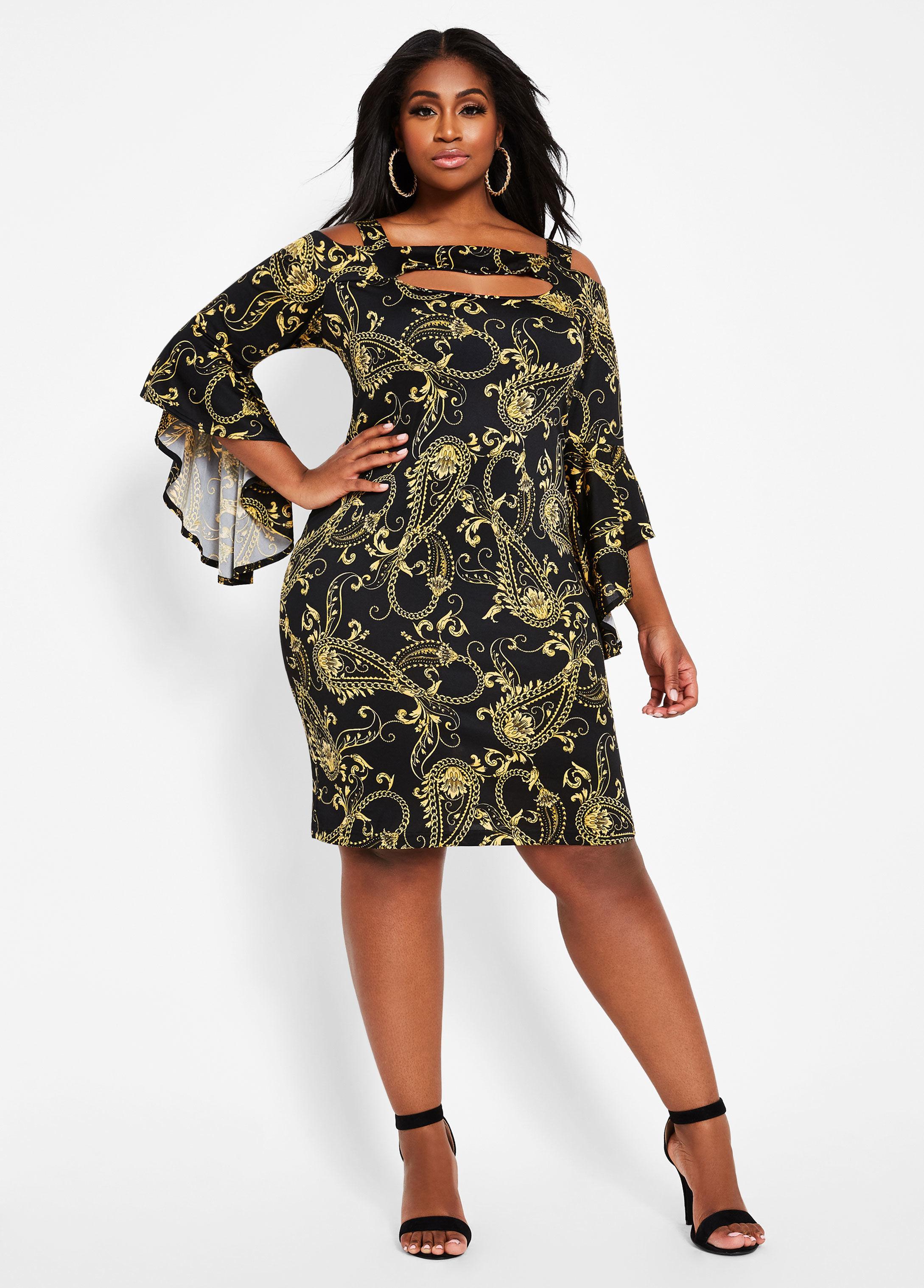 6b787a40dace6 Ashley Stewart. Women's Black Plus Size Status Print Cutout Bell Sleeve  Dress