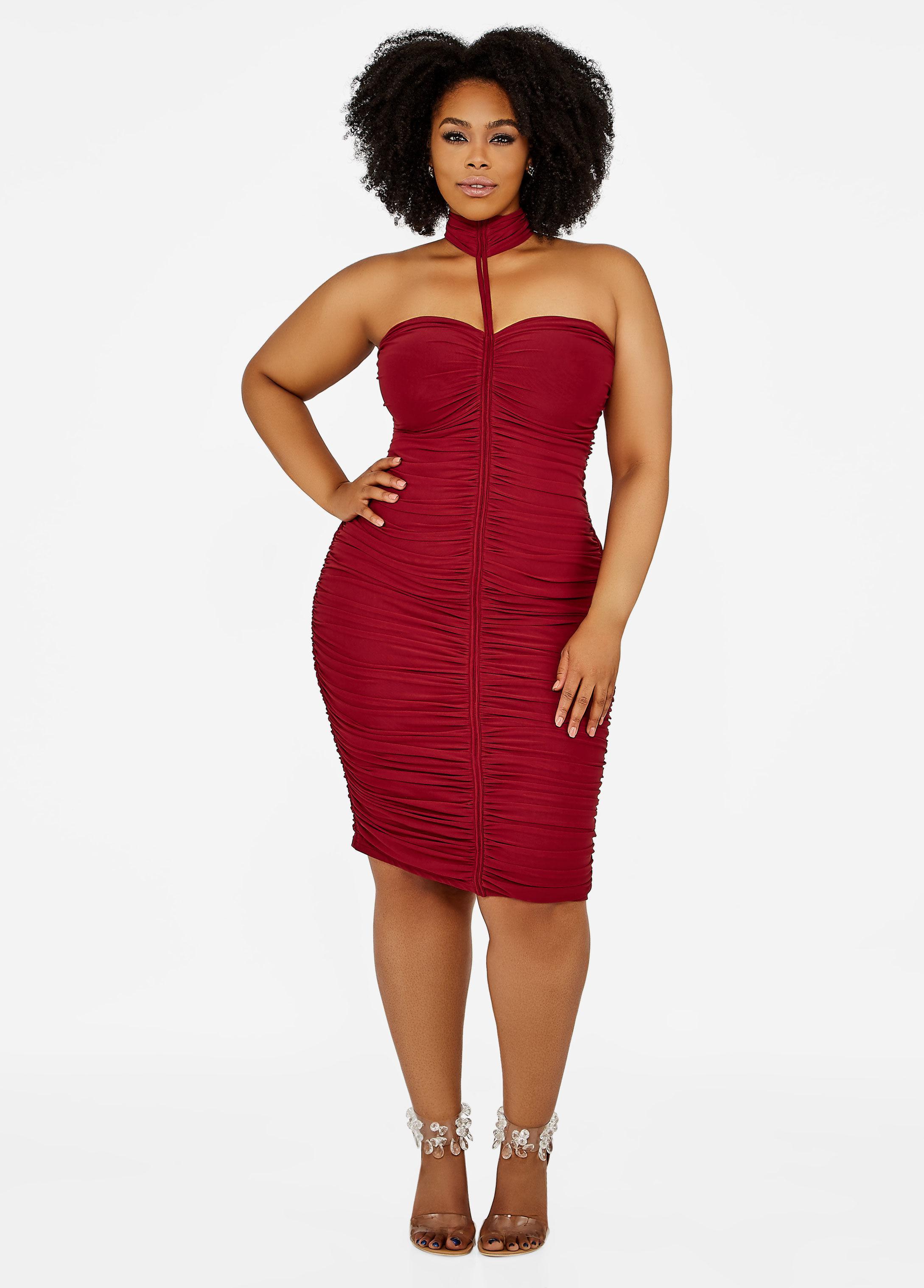 3c4ff21da3348 Lyst - Ashley Stewart Plus Size Mock Neck Ruched Bodycon Dress in Red