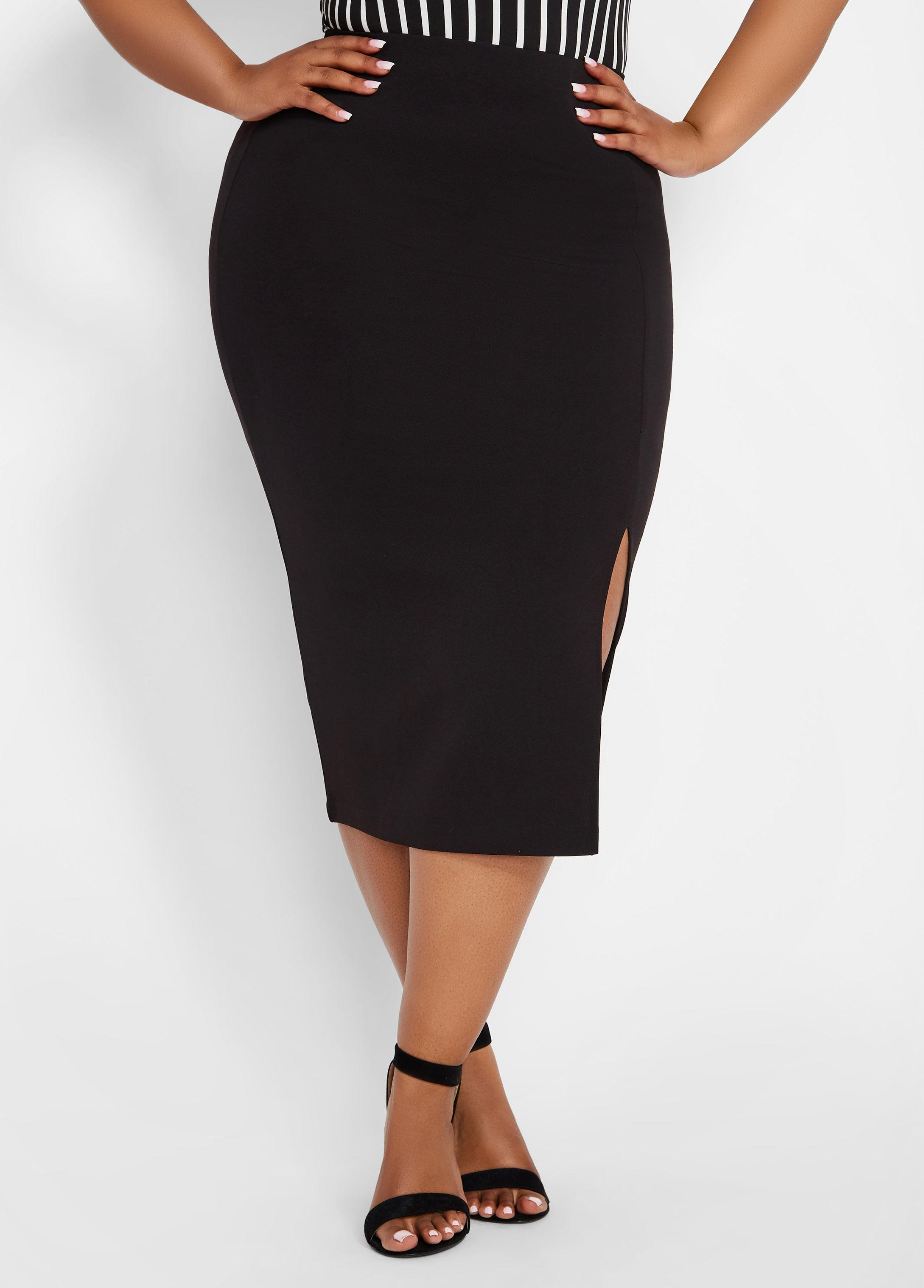 a542cb9535 Lyst - Ashley Stewart Plus Size Crepe Pencil Skirt in Black