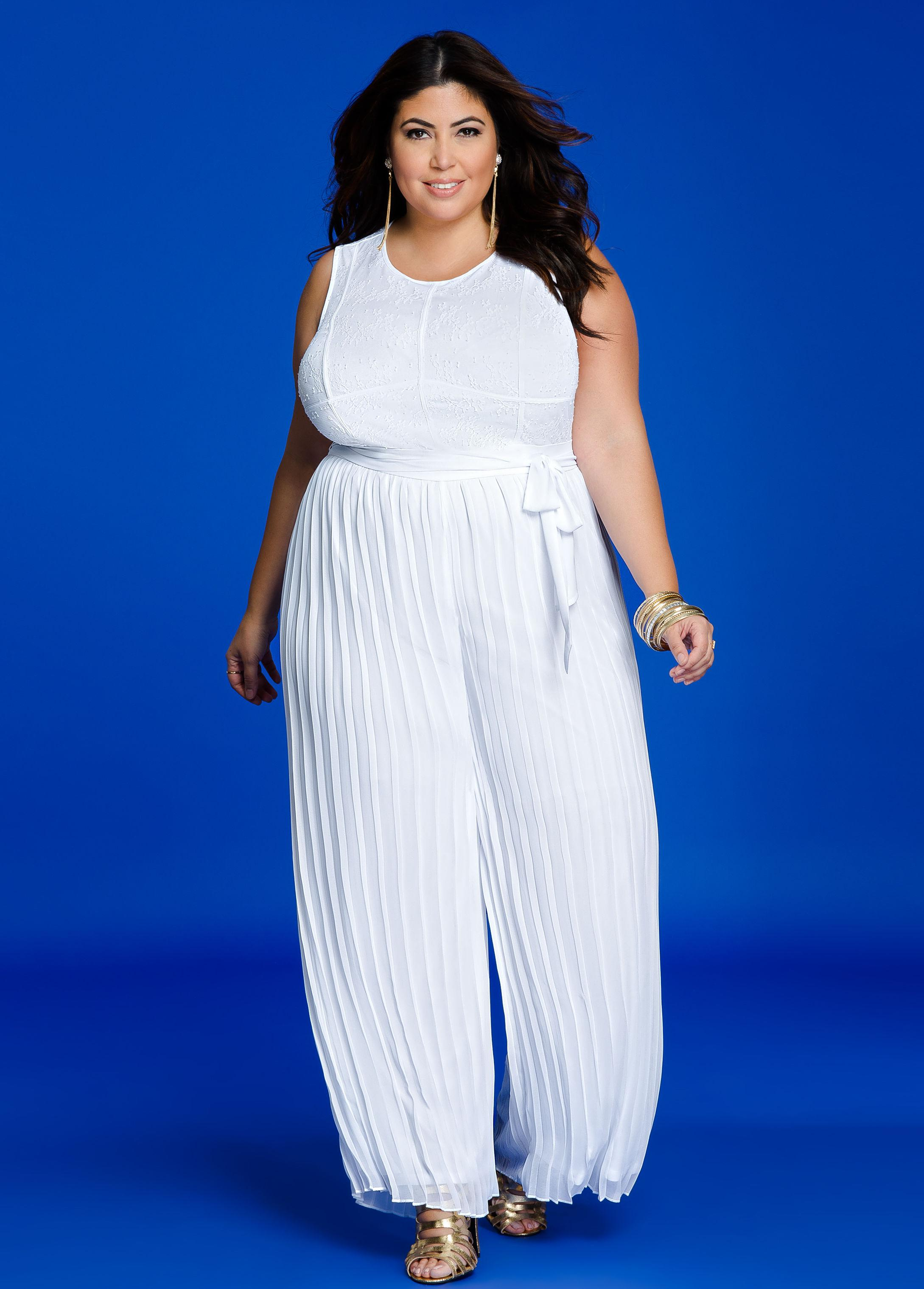 883bd496feeb Lyst - Ashley Stewart Lace Overlay Top Pleated Jumpsuit in White
