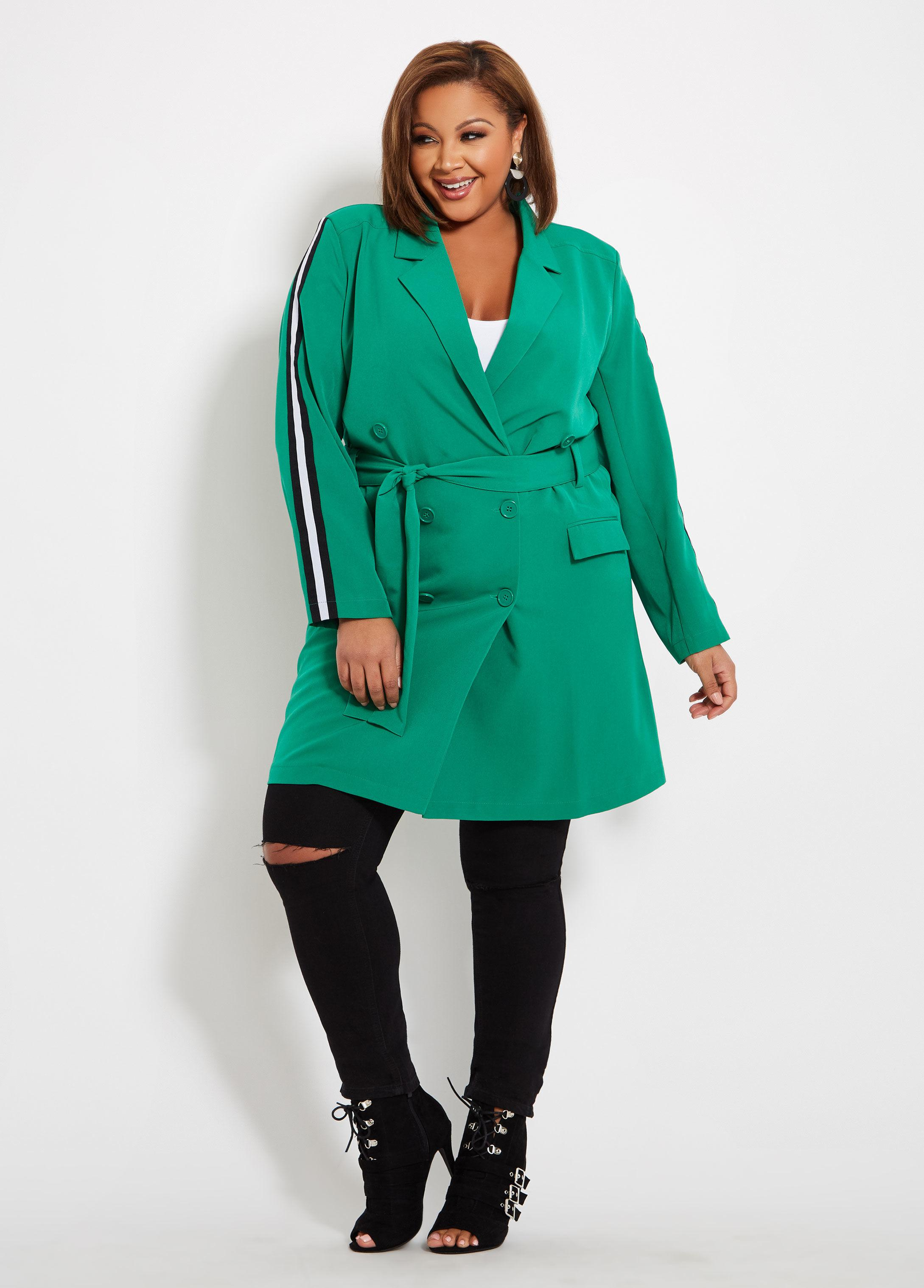 7c4bc7fccb5 Lyst - Ashley Stewart Plus Size Trench Coat With Side Stripe in Green