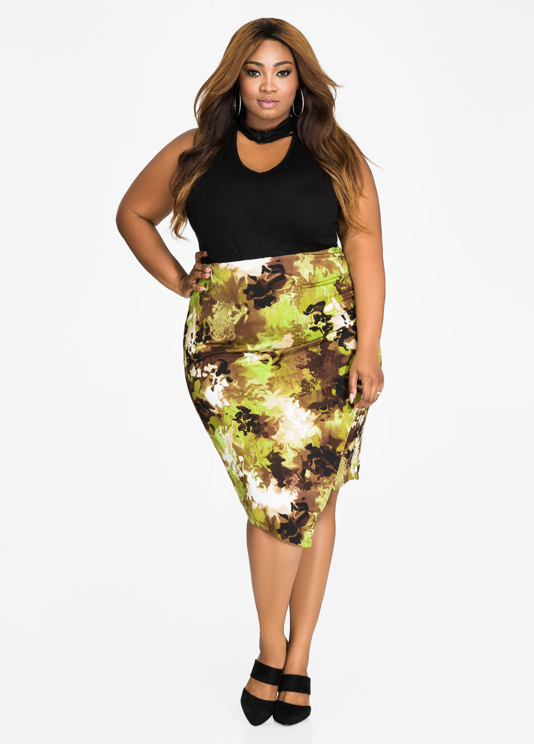 49e9f6e00cf Lyst - Ashley Stewart Abstract Camo Print Surplice Skirt in Yellow