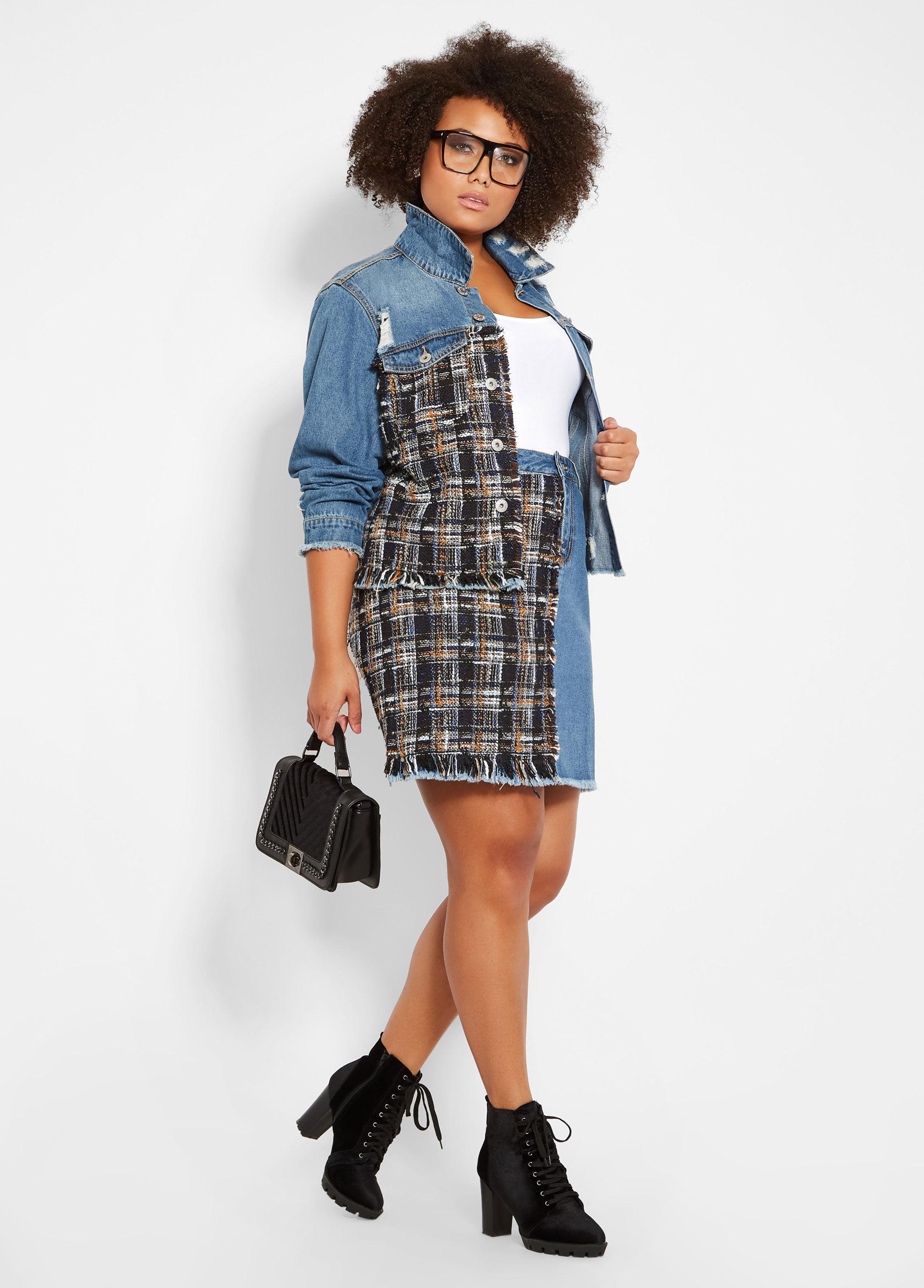 6af69852dbe Lyst - Ashley Stewart Plus Size Boucle Inset Denim Skirt in Blue