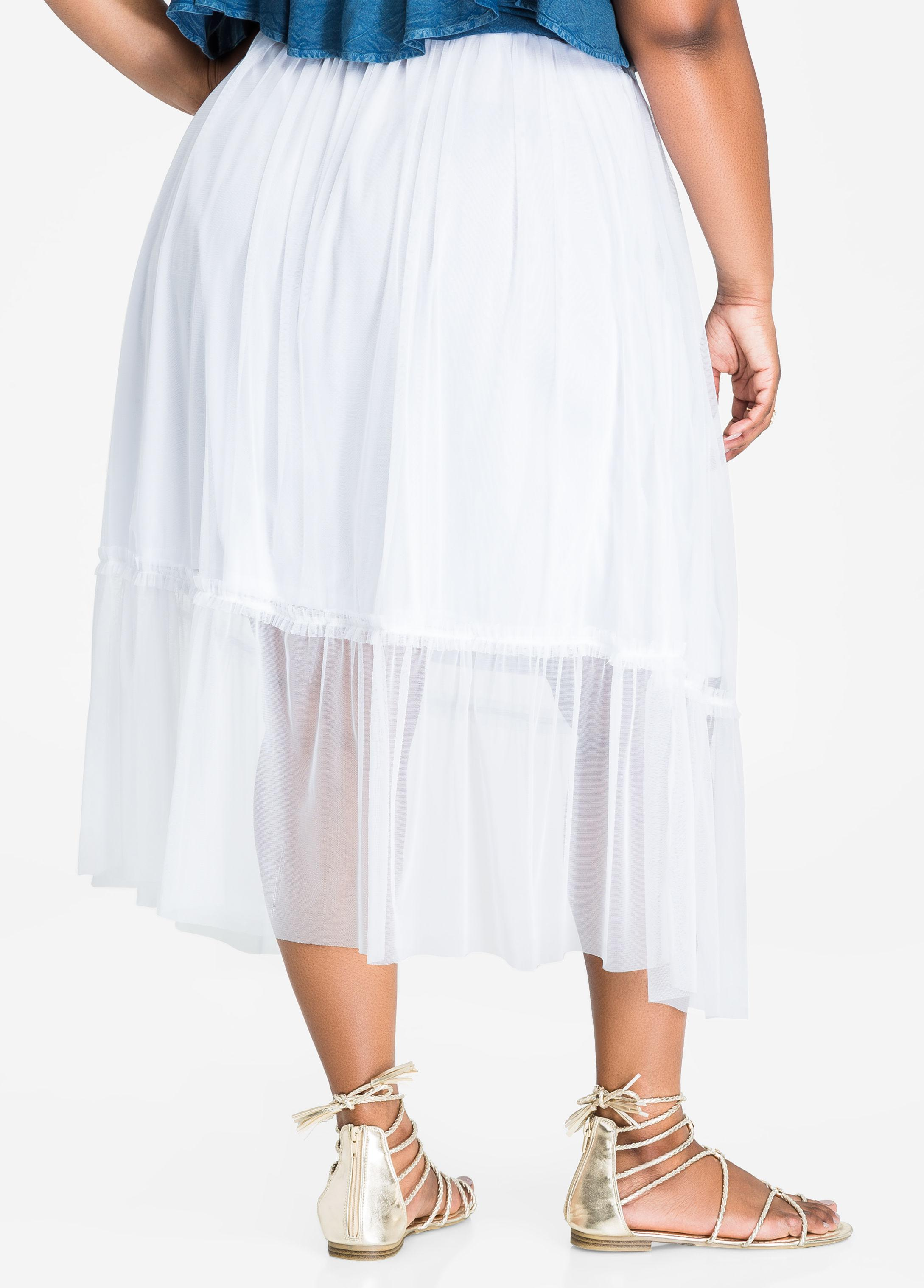 231155fcd Ashley Stewart Sheer Tulle Skirt With Lining in White - Lyst