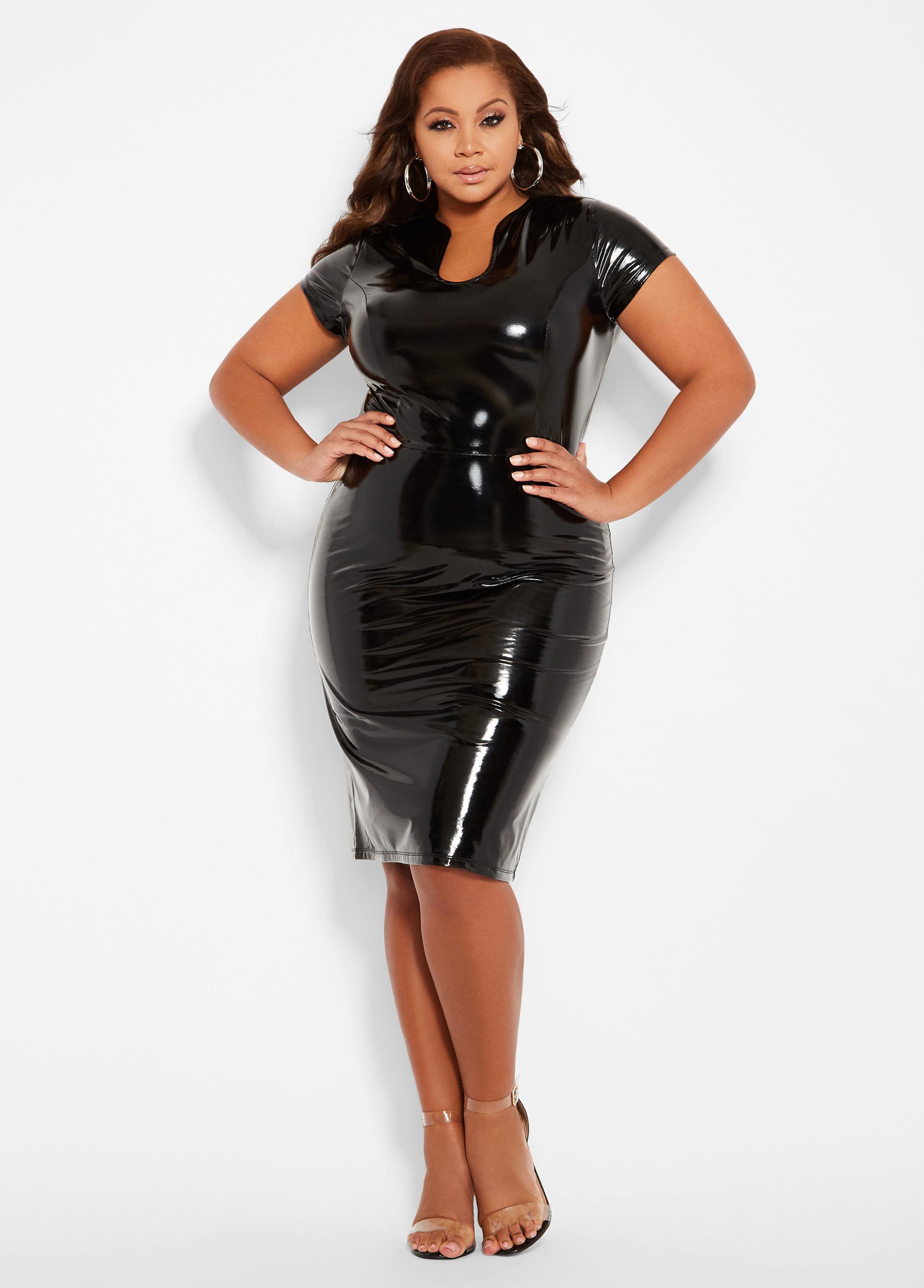 Ashley Stewart Plus Size Patent Faux Leather Dress in Black - Lyst