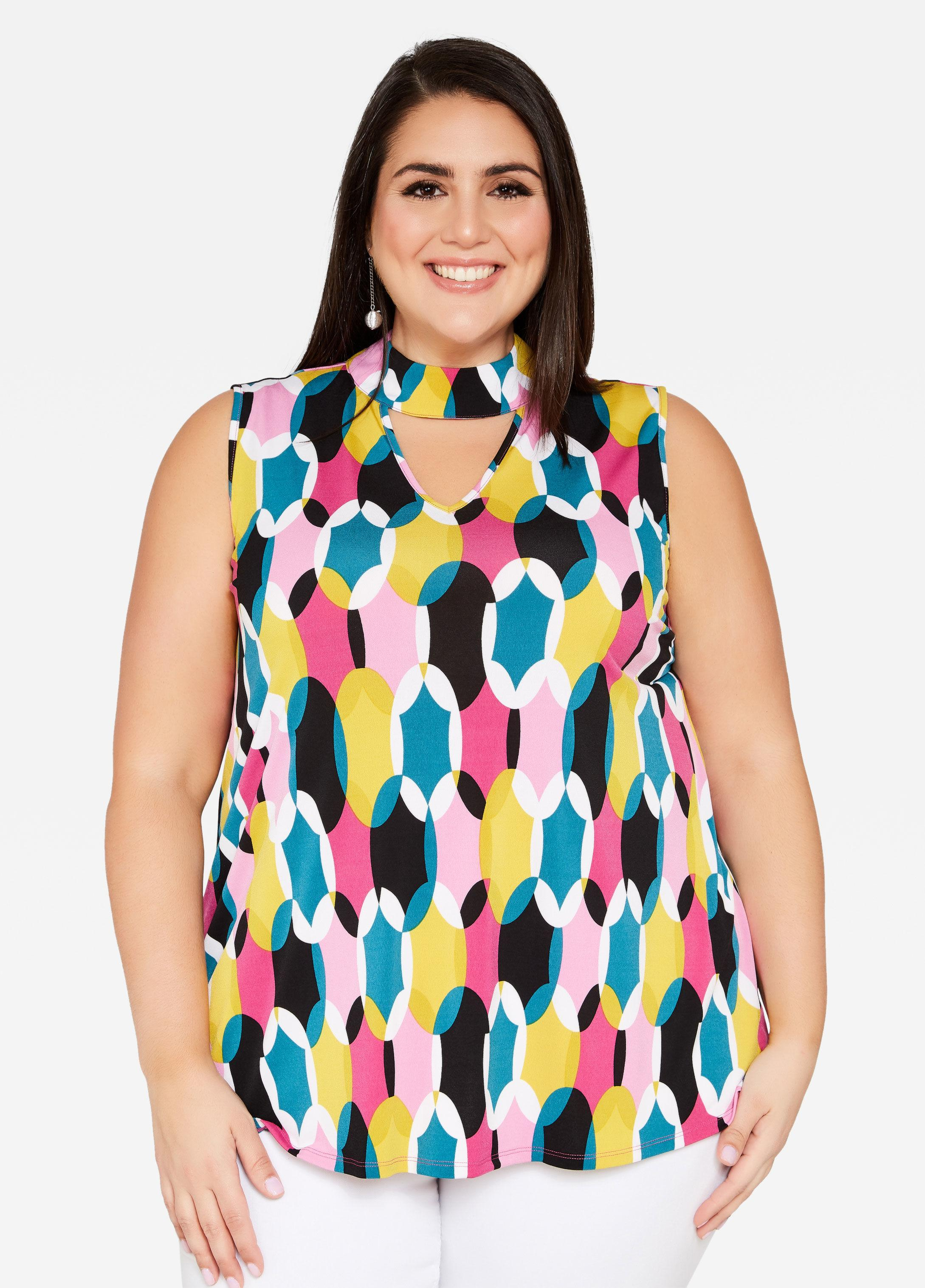 6afb526487c Lyst - Ashley Stewart Plus Size Sleeveless Geo Print Swing Top in Blue