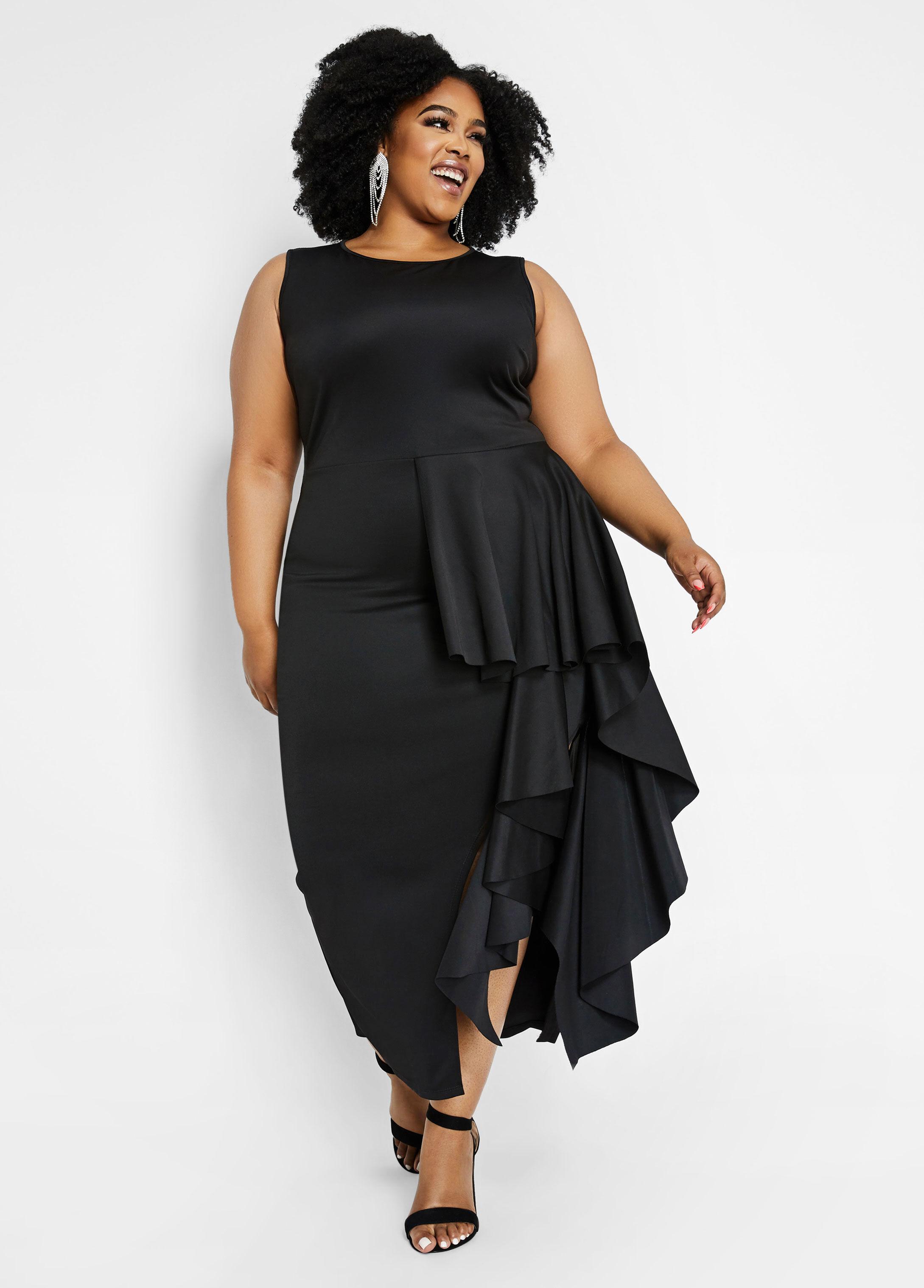 Women\'s Black Plus Size Slit-accented Asymmetrical Dress