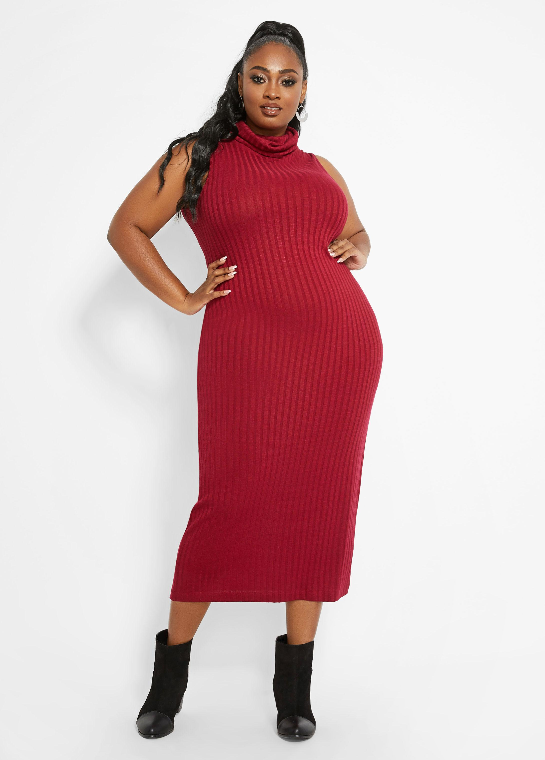 Plus Size Rib Cowl Neck Sweater Dress