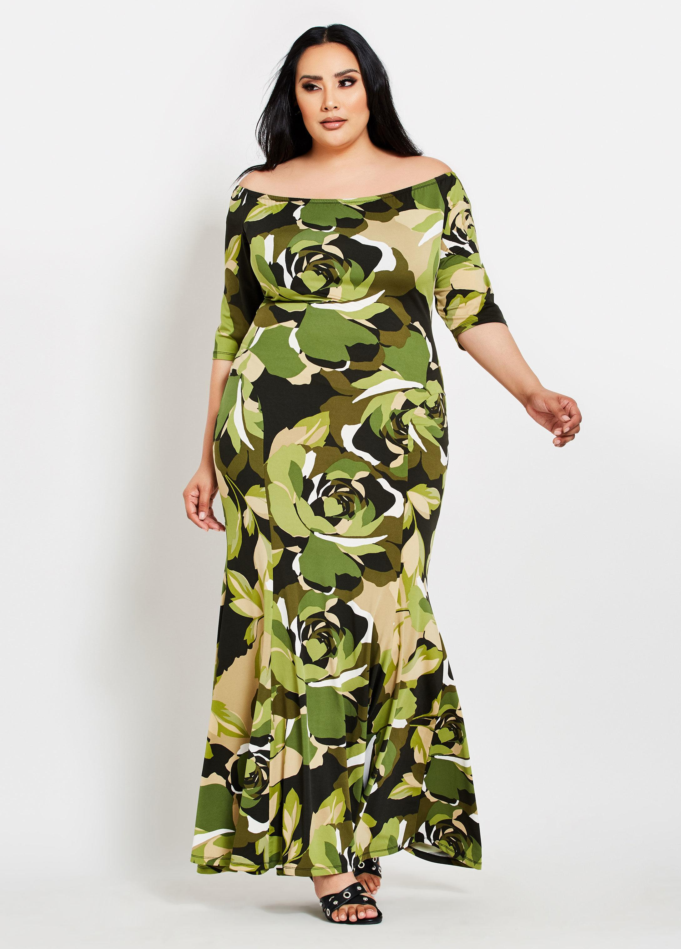Plus Size Floral Camo Mermaid Maxi Dress