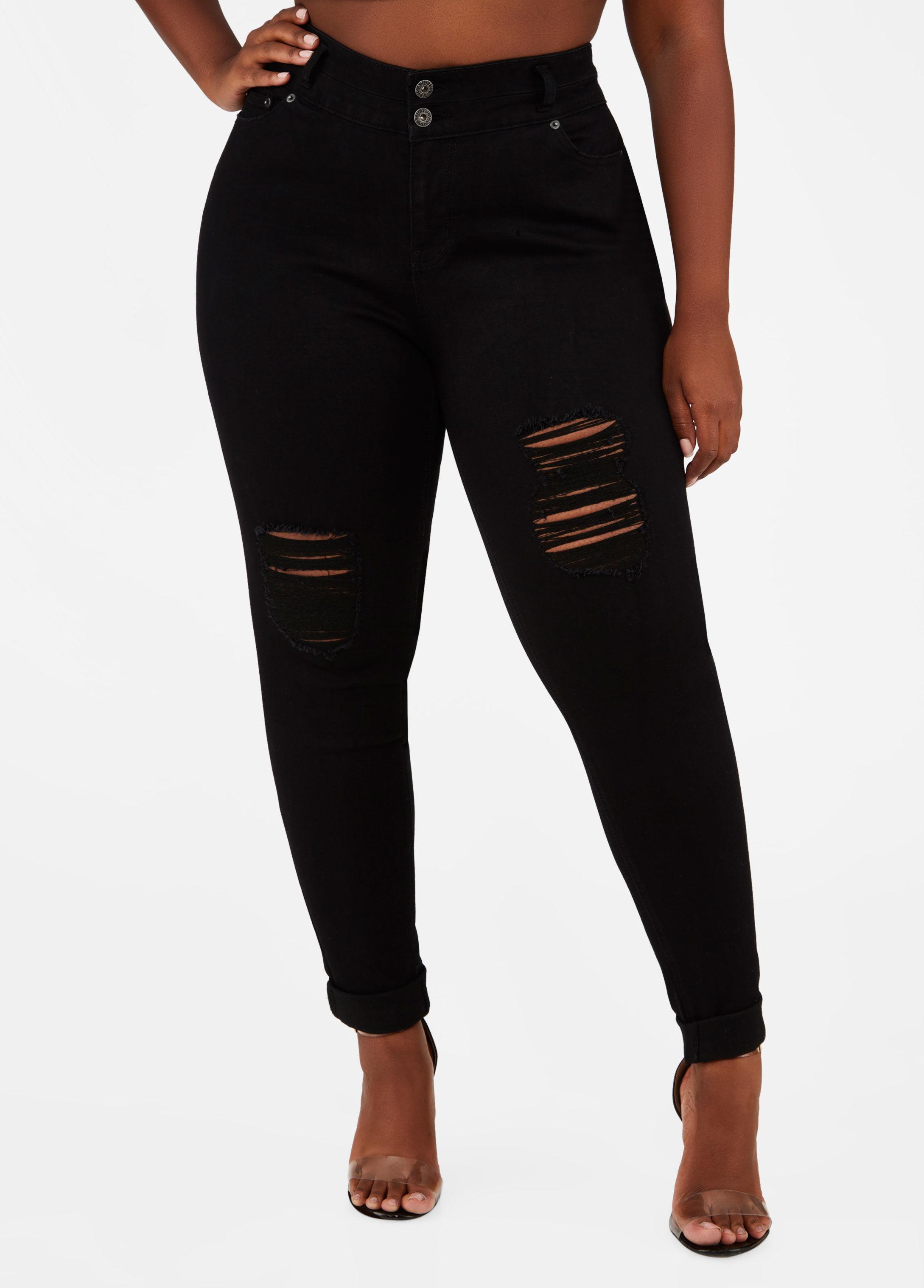 b4155b643a3 Lyst - Ashley Stewart Plus Size Double Button Skinny Jean in Black