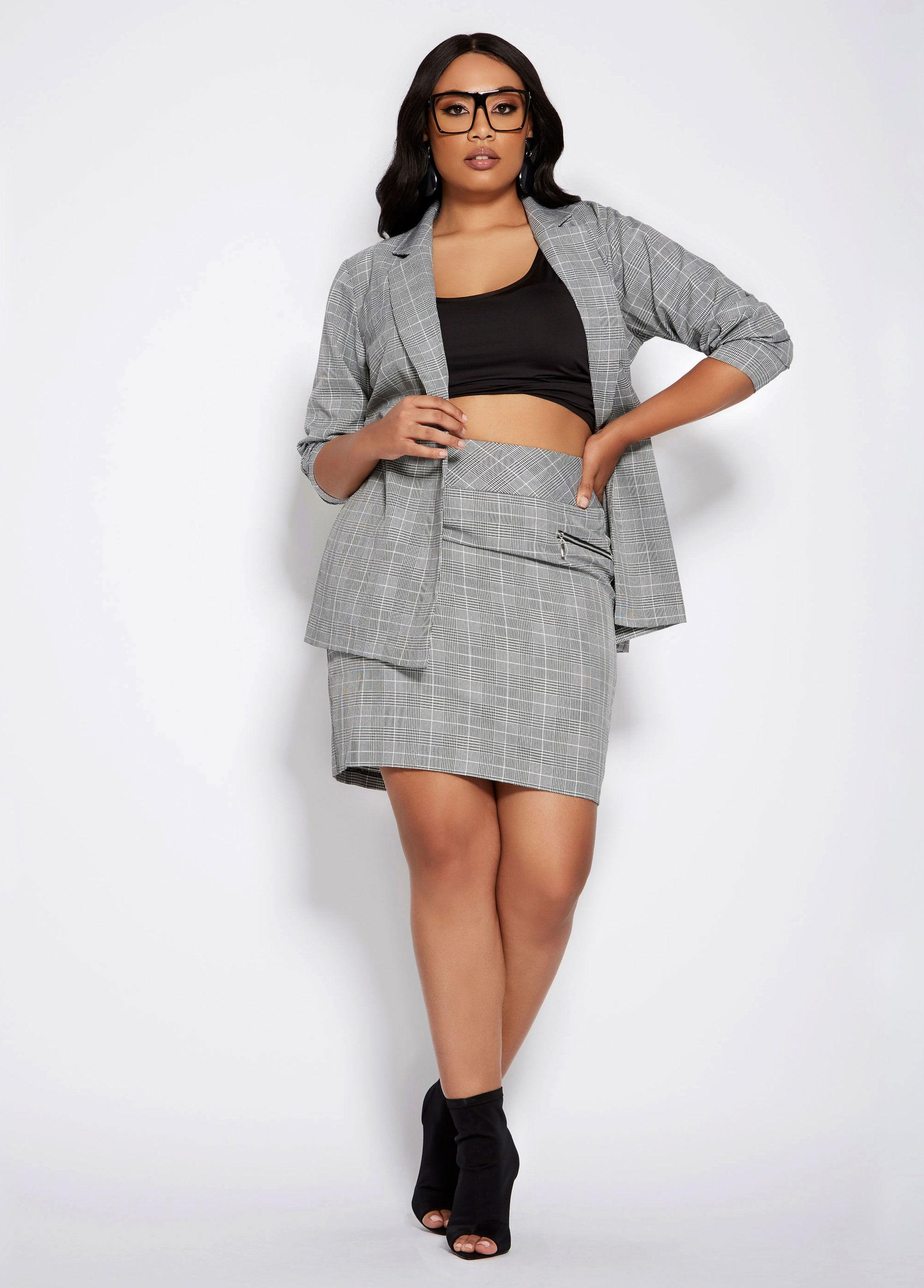 8202c098b5 Lyst - Ashley Stewart Plus Size Zipper Plaid Print Mini Skirt in Black