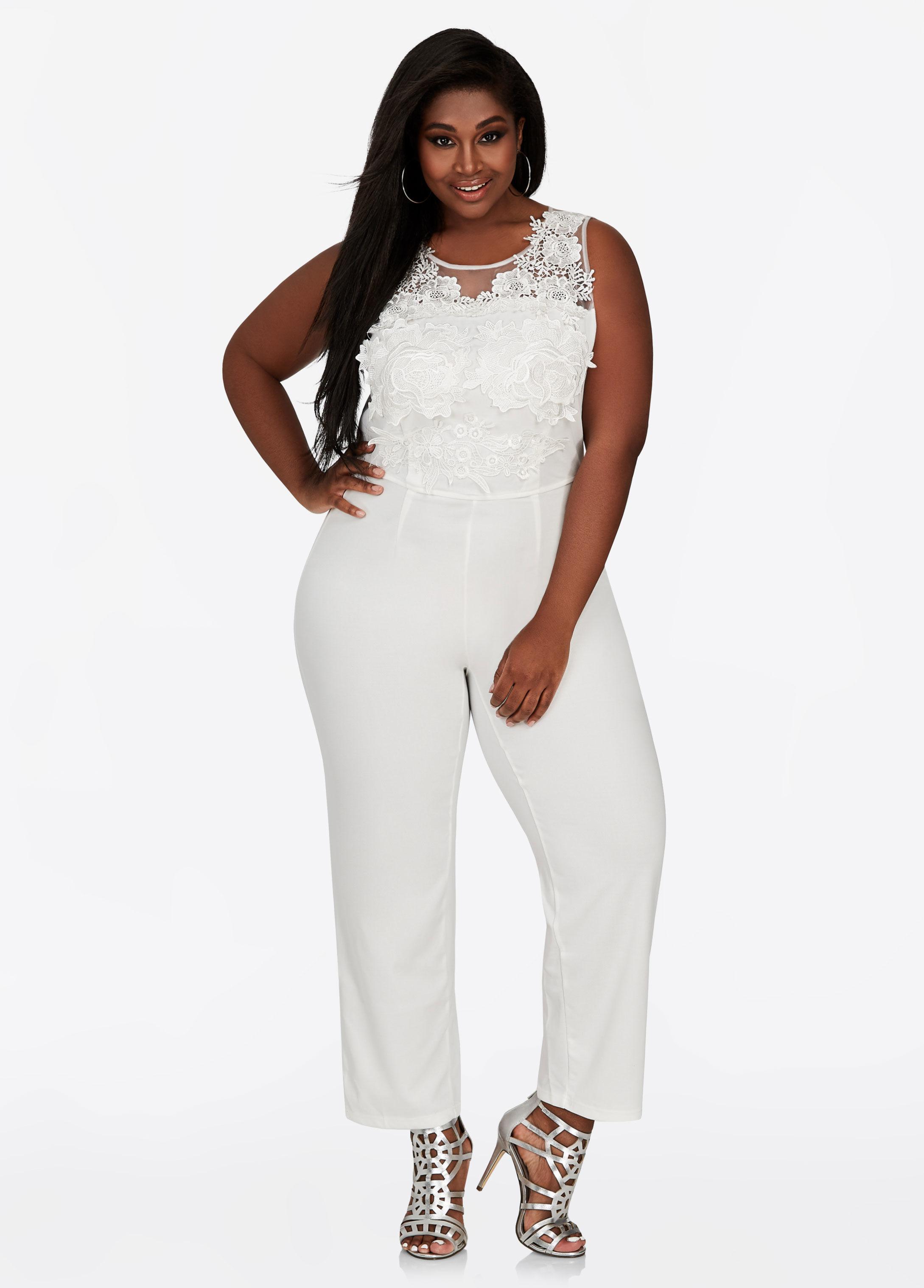 2b291790862c4 Ashley Stewart Floral Mesh Applique Jumpsuit in White - Lyst