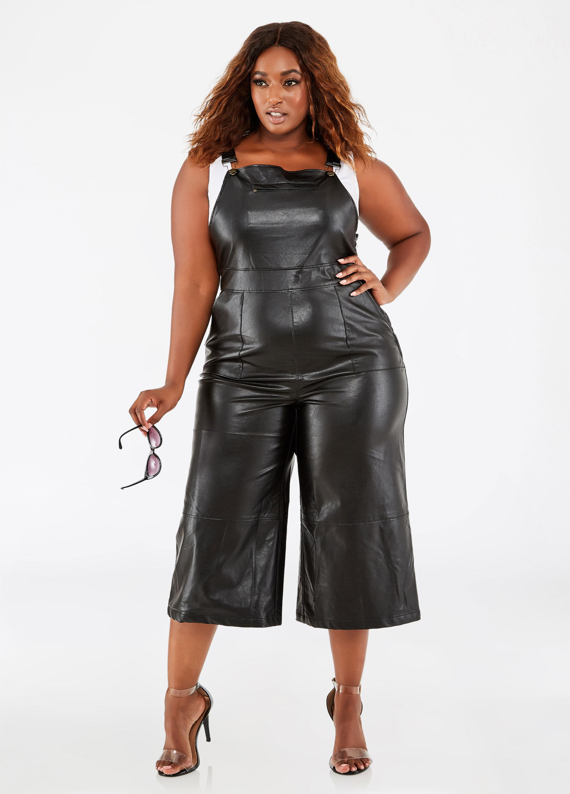 43639f36d71c Lyst - Ashley Stewart Plus Size Faux Leather Overall Jumpsuit in Black