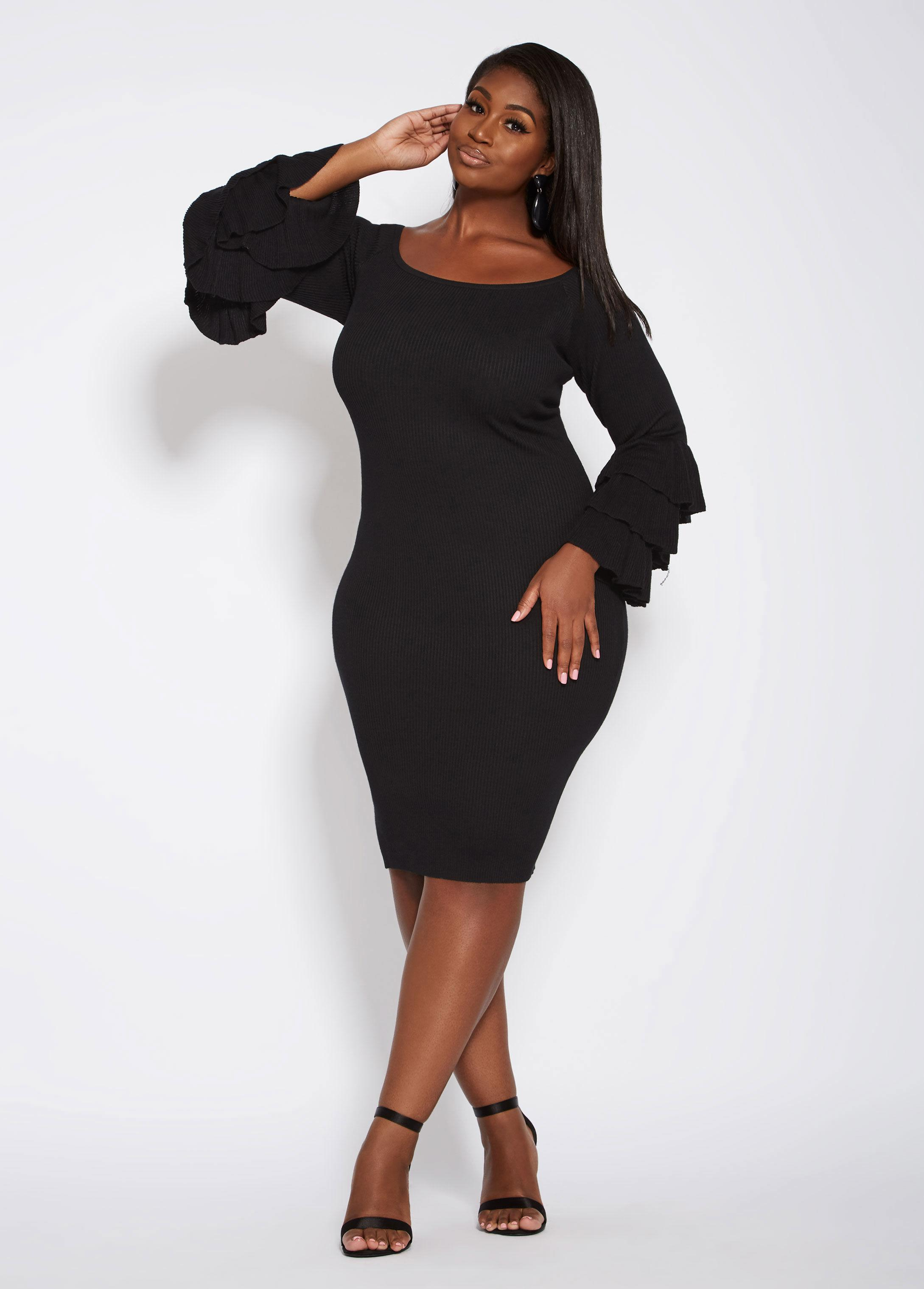 Plus Size Bell Sleeve Off The Shoulder Sweater Dress