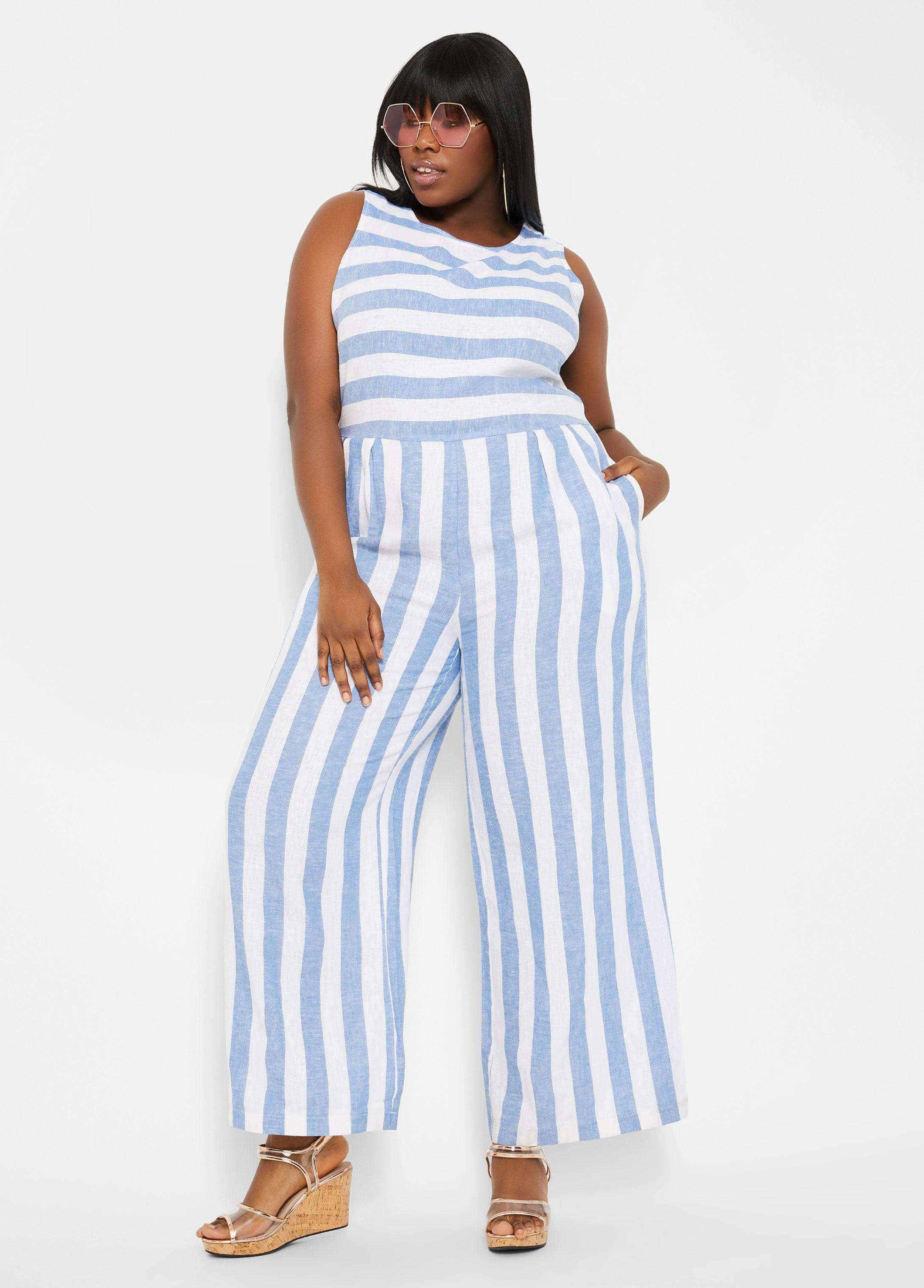 f3a46a225ab5 Ashley Stewart. Women's Blue Plus Size Mixed Media Stripe Linen Jumpsuit