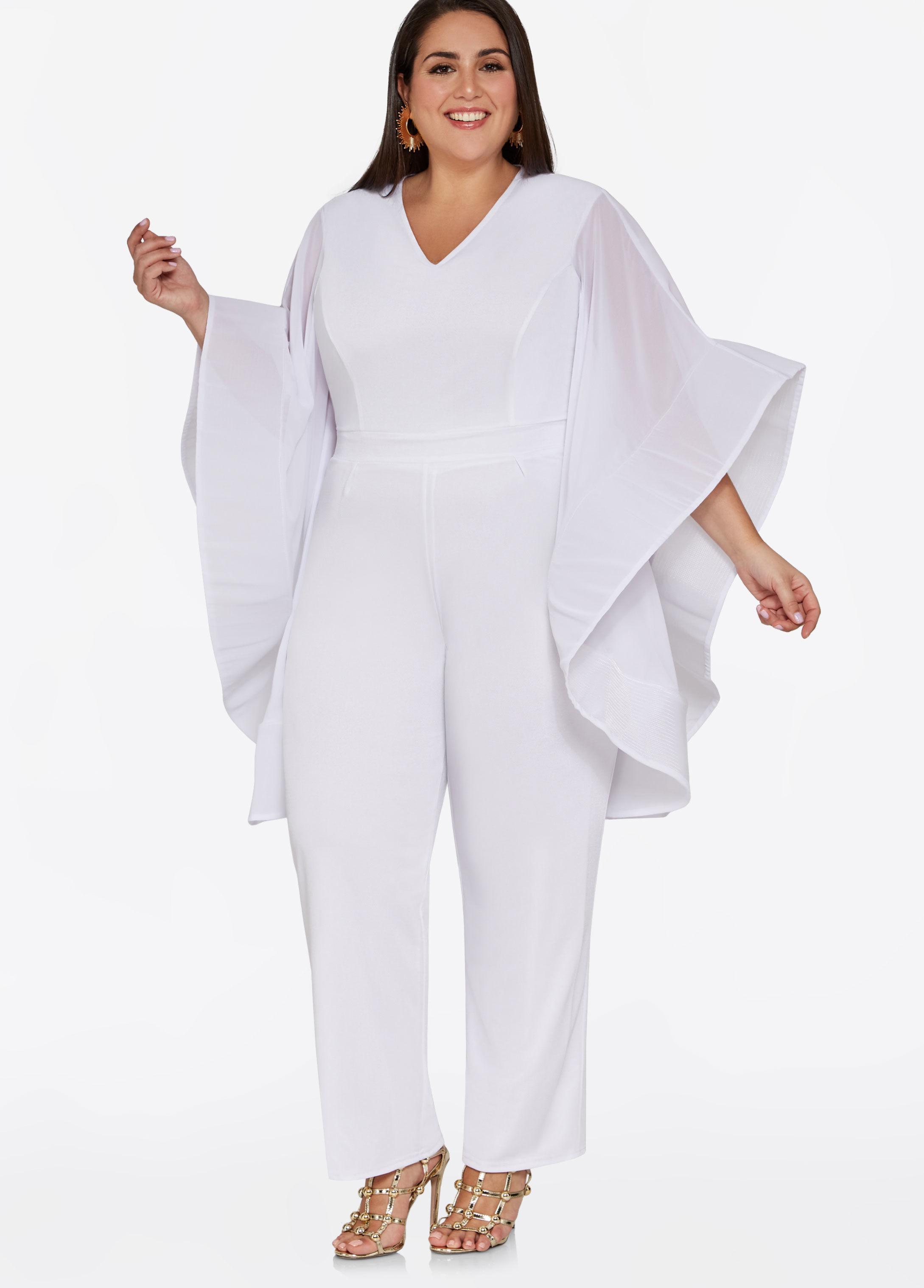 706953e769a Lyst - Ashley Stewart Drama Sleeve V Neck Jumpsuit in White