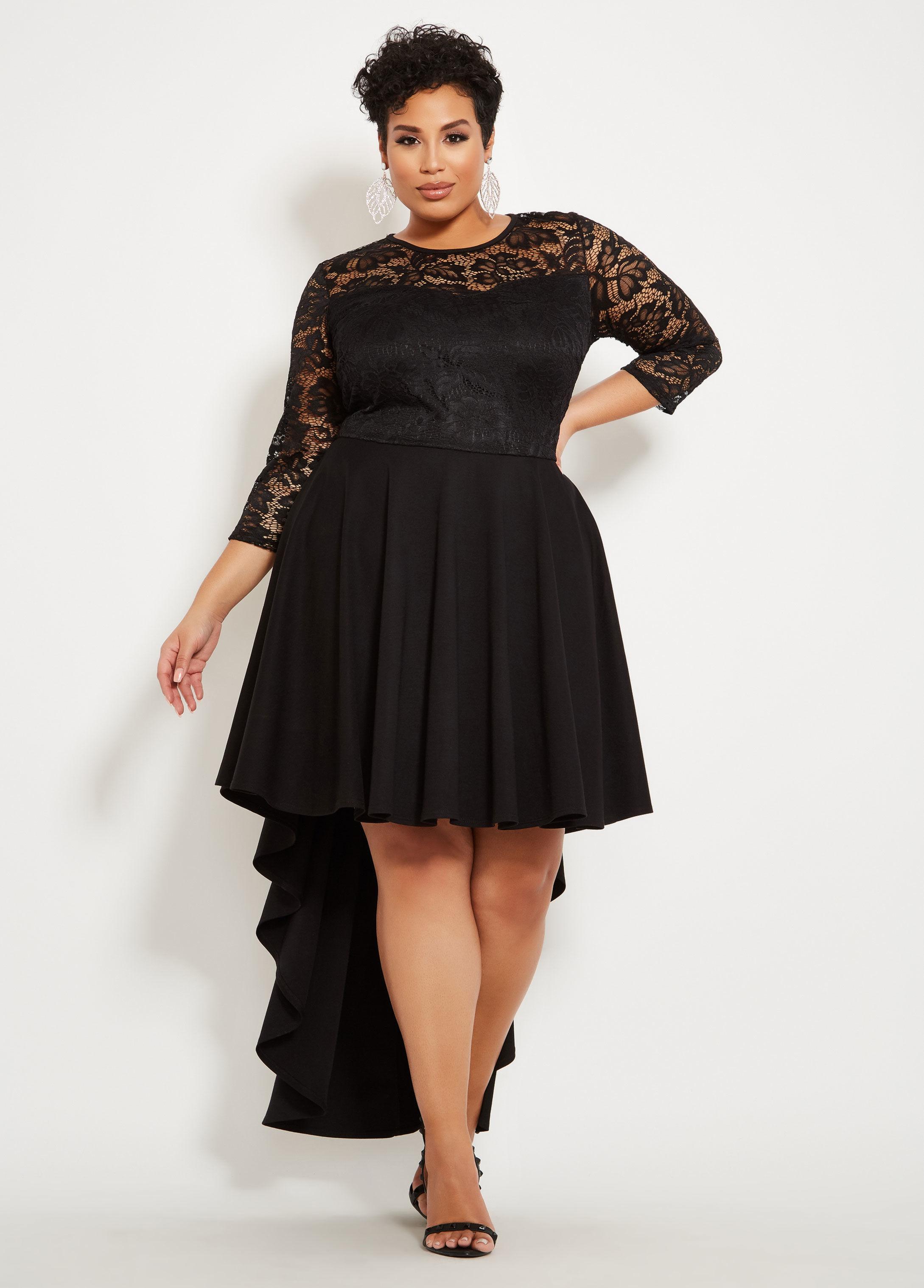 8a2b963ca25 Lyst - Ashley Stewart Plus Size Sweetheart Lace Bodice Dress in Black