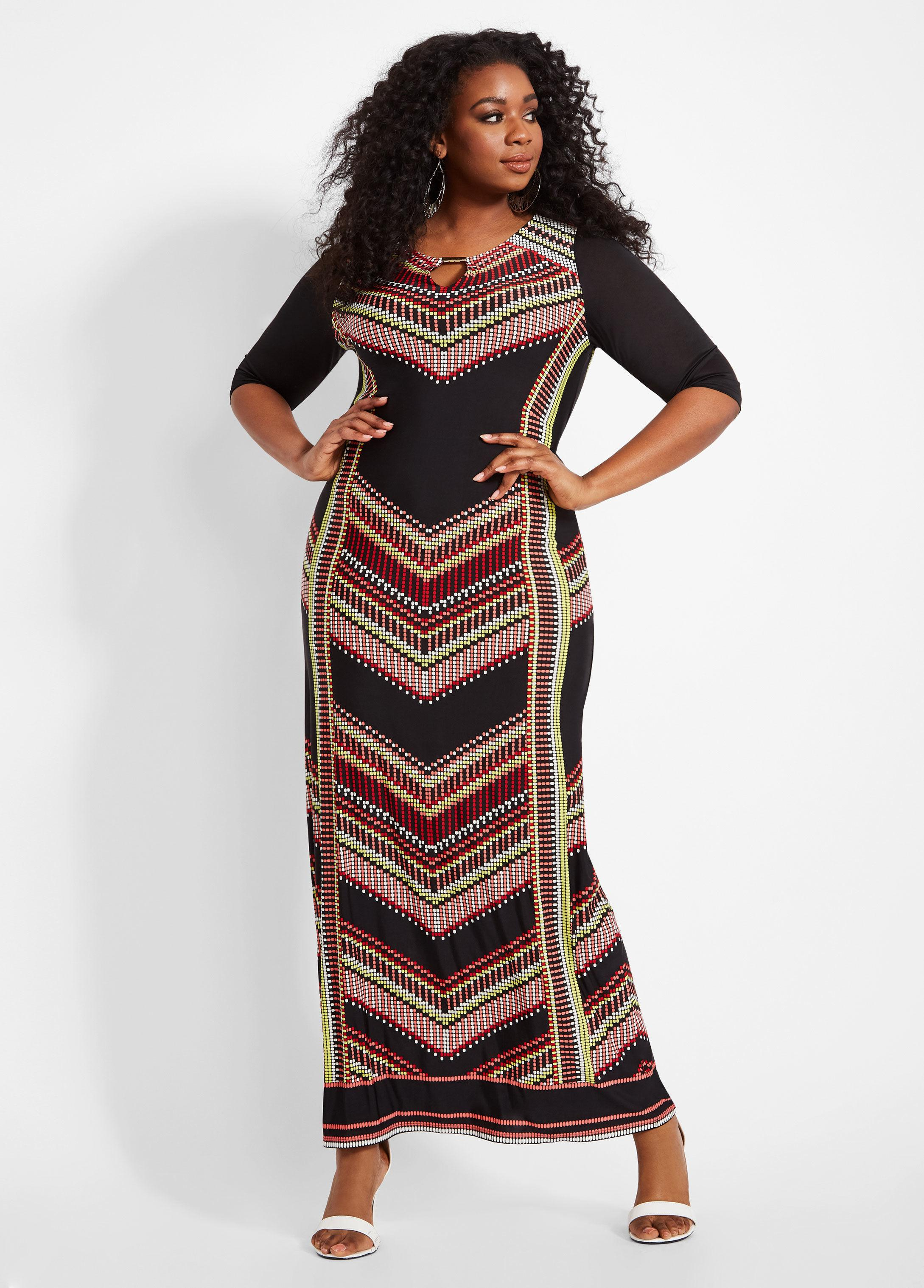 Ashley Stewart Black Plus Size Chevron Dress With Gold Bar Accent