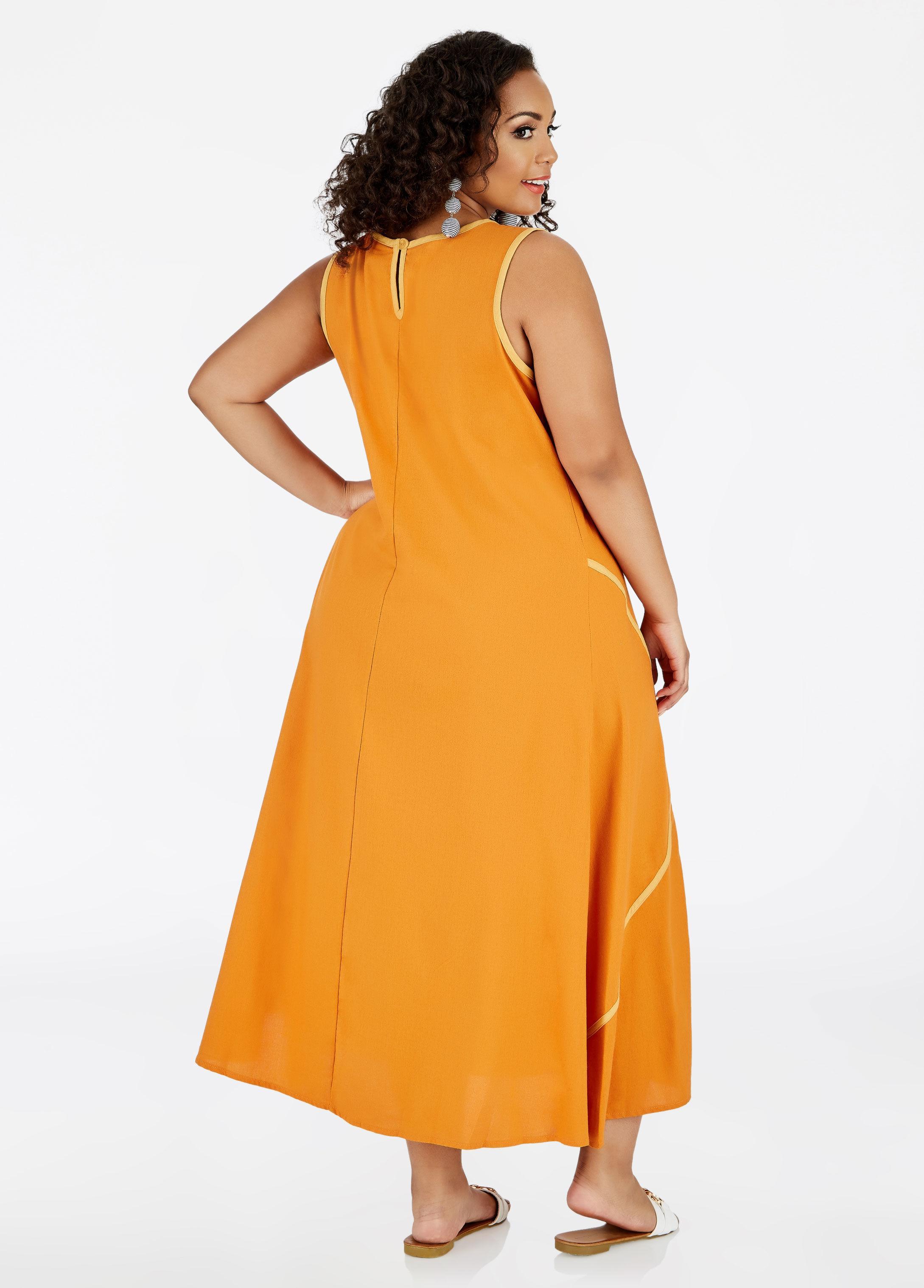318d462bdf3 Lyst - Ashley Stewart Linen Trapeze Maxi Dress in Orange