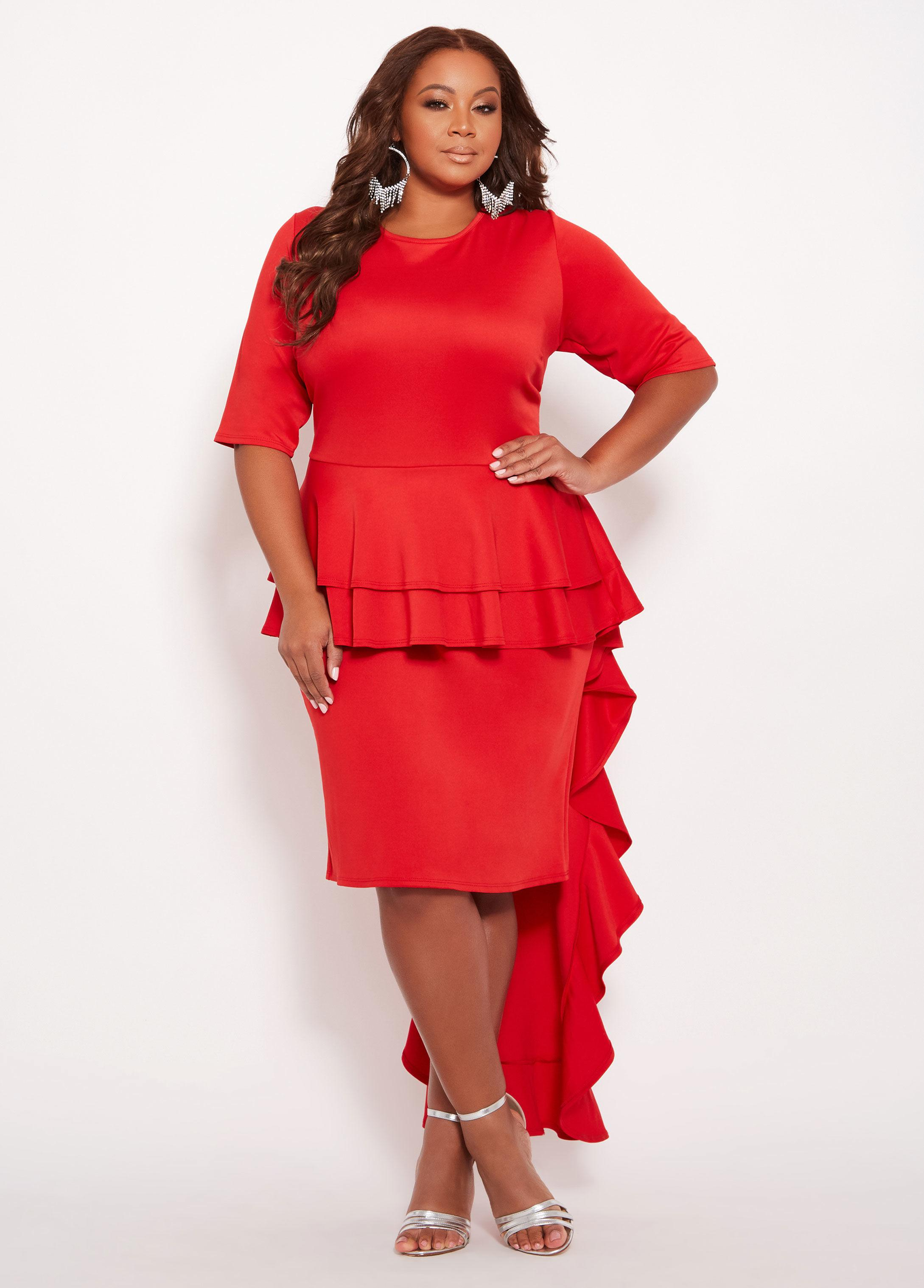 Plus Size Peplum Dress With Train
