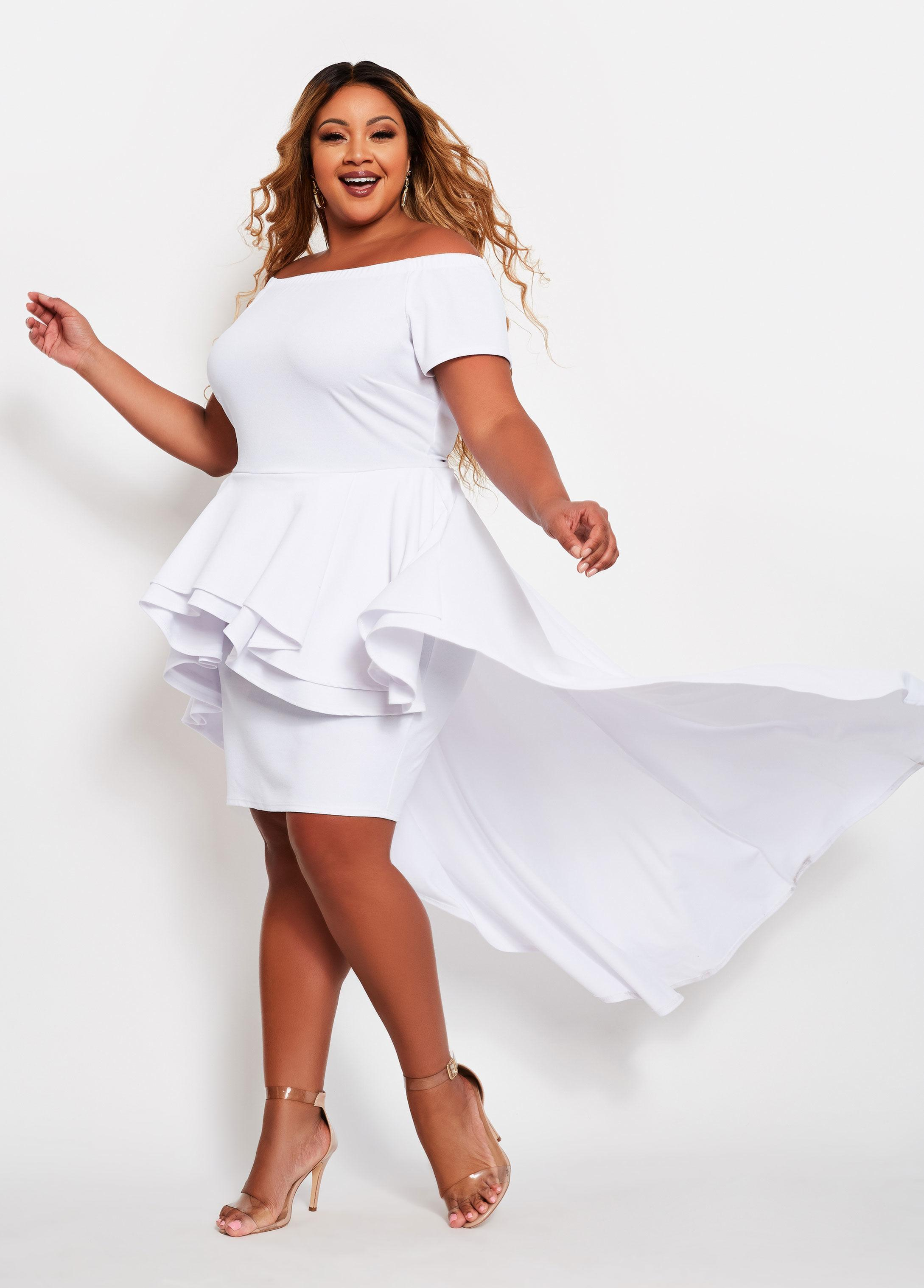Plus Size Off Shoulder Tiered Train Dress