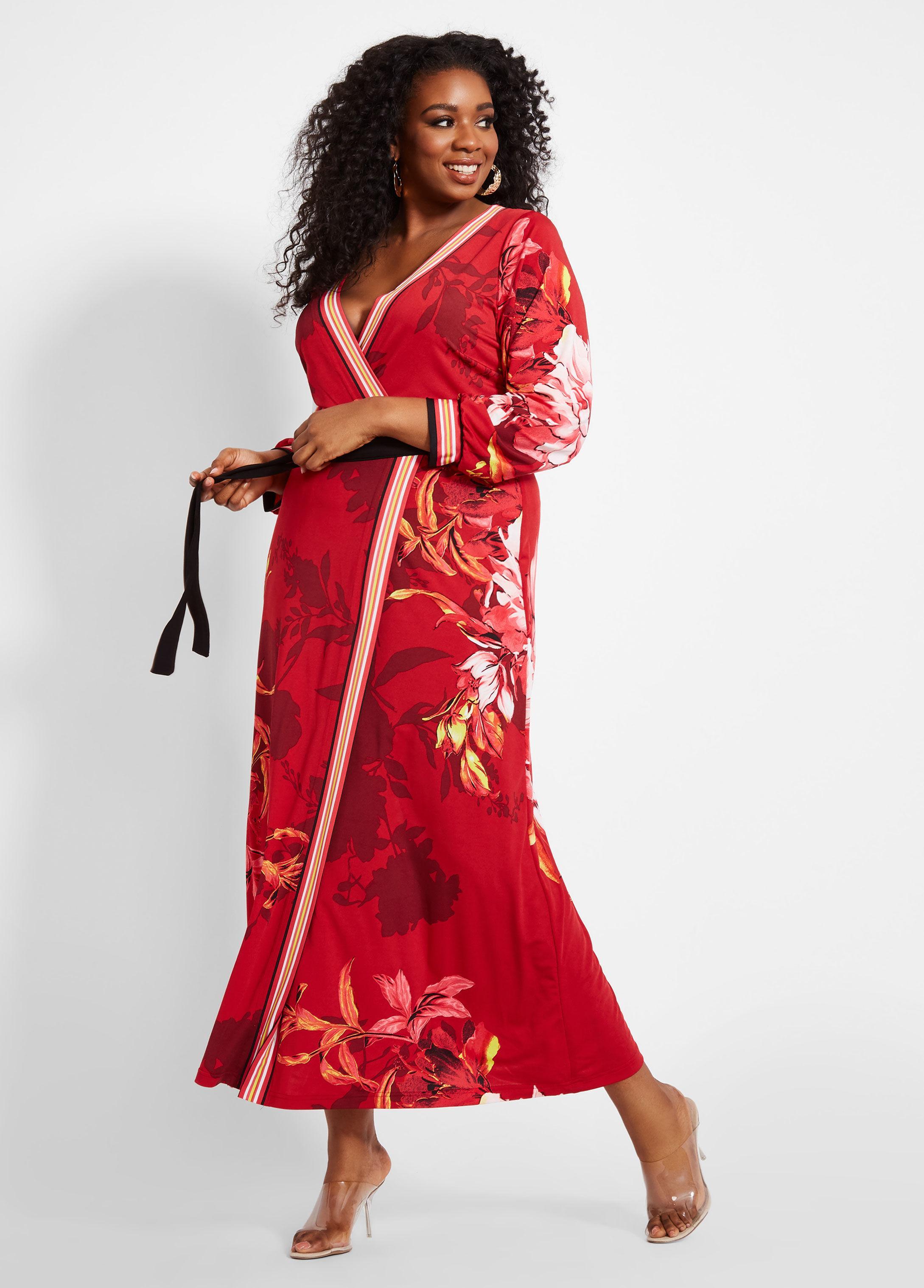 Plus Size Large Floral Print Maxi Dress