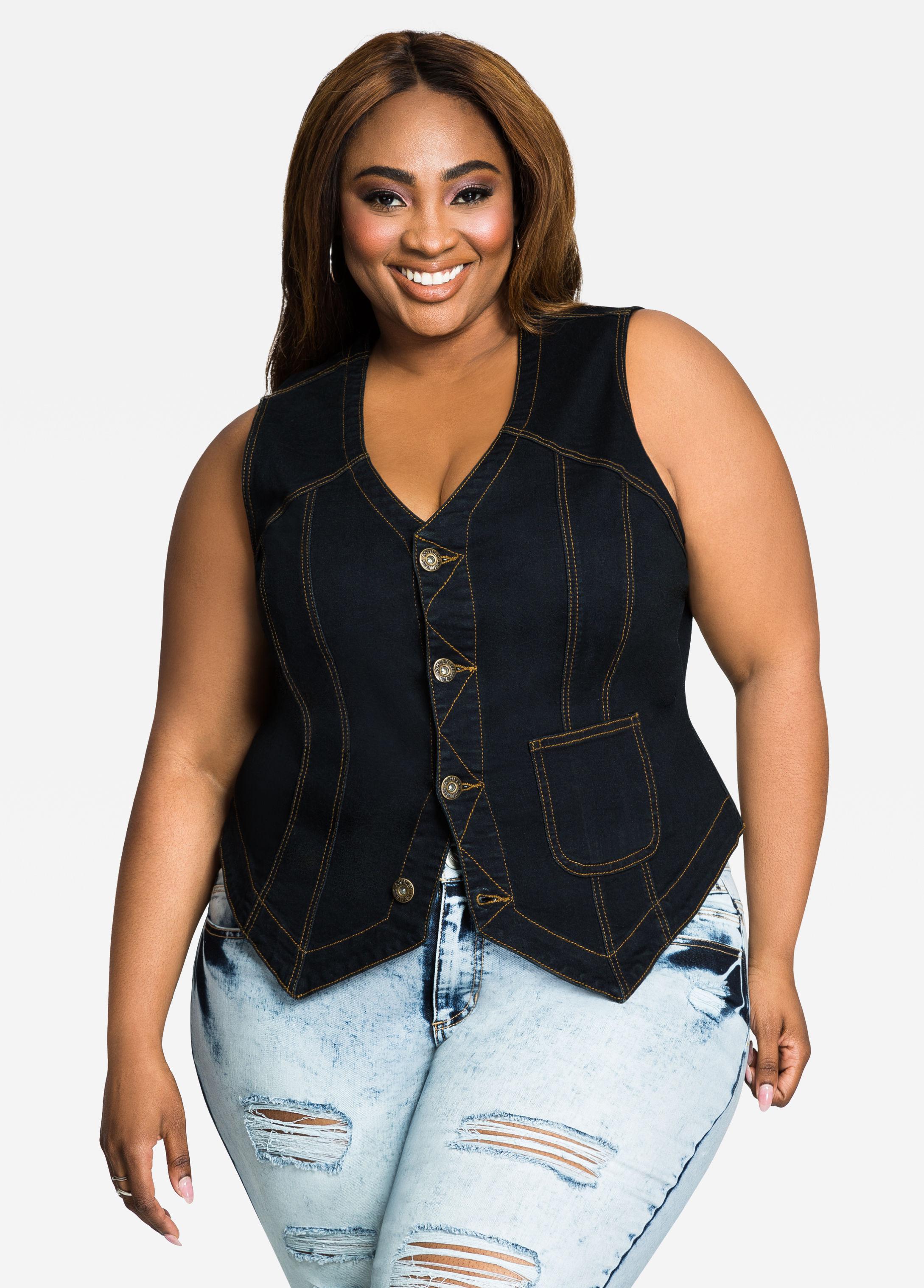 9da2e3dd4e5 Lyst - Ashley Stewart Collarless Patch Pocket Jean Vest in Blue