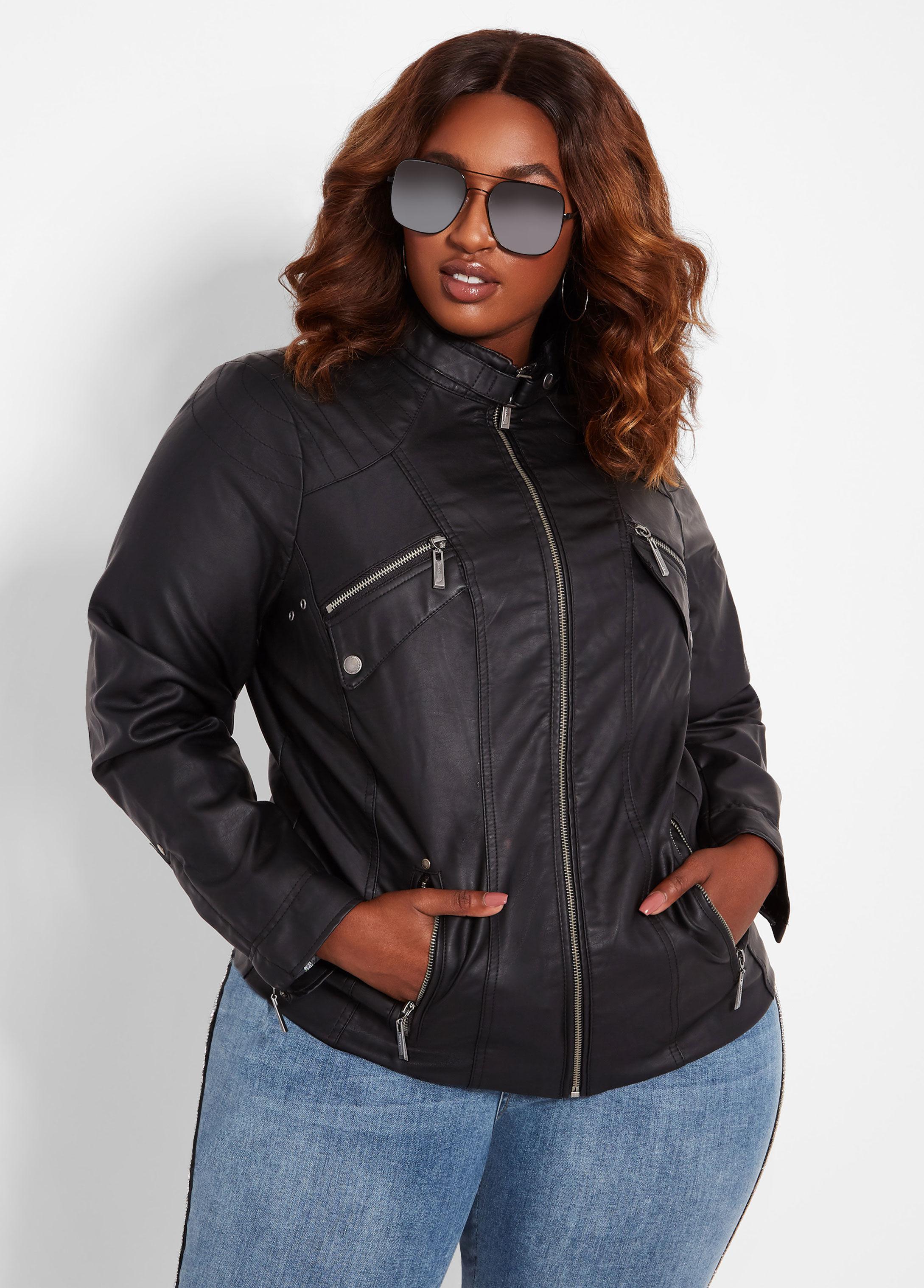 7a46fbe3dee32 Lyst - Ashley Stewart Plus Size Vegan Leather Biker Jacket in Black