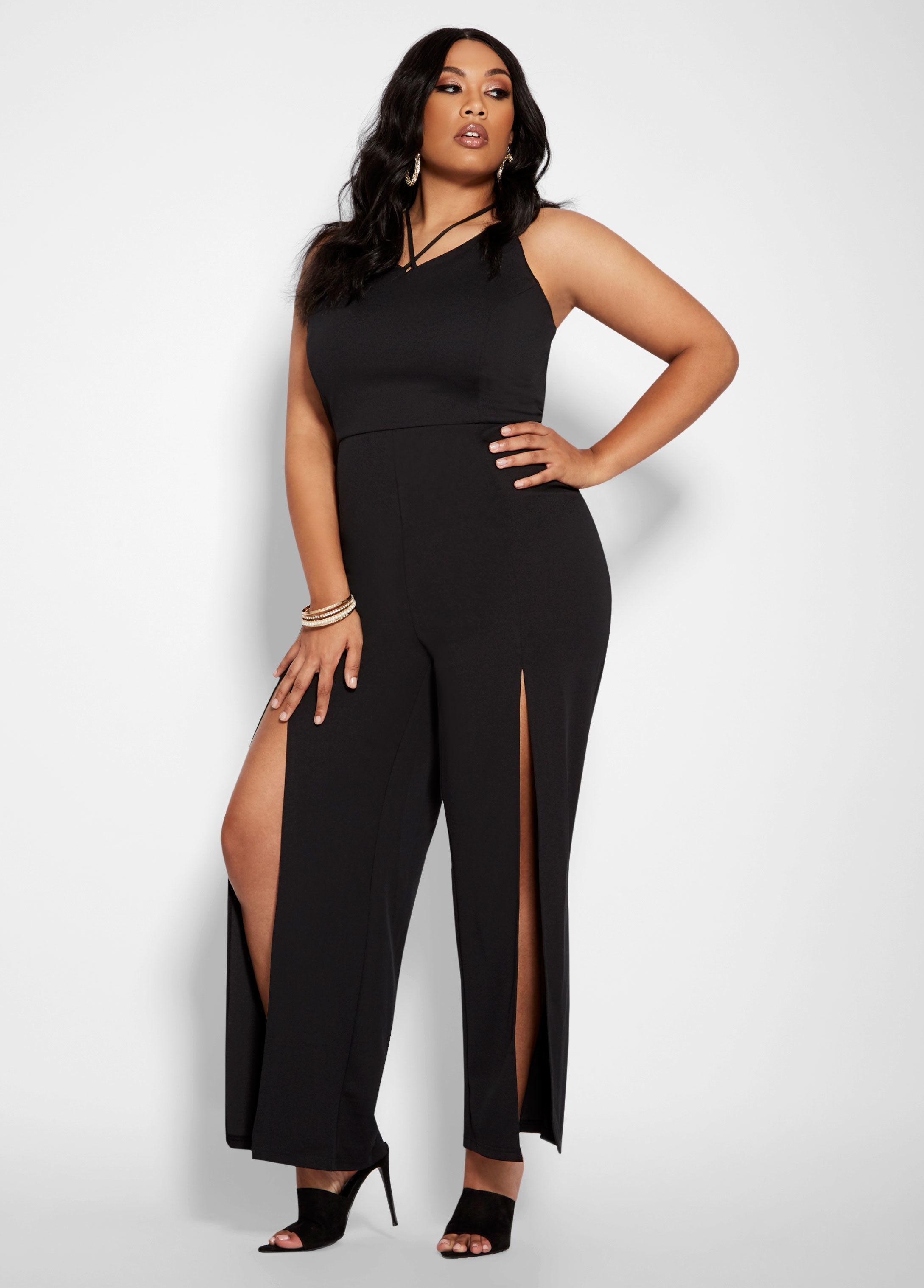 81f1c8934ad Lyst - Ashley Stewart Plus Size Cross Strap Split Leg Jumpsuit in Black