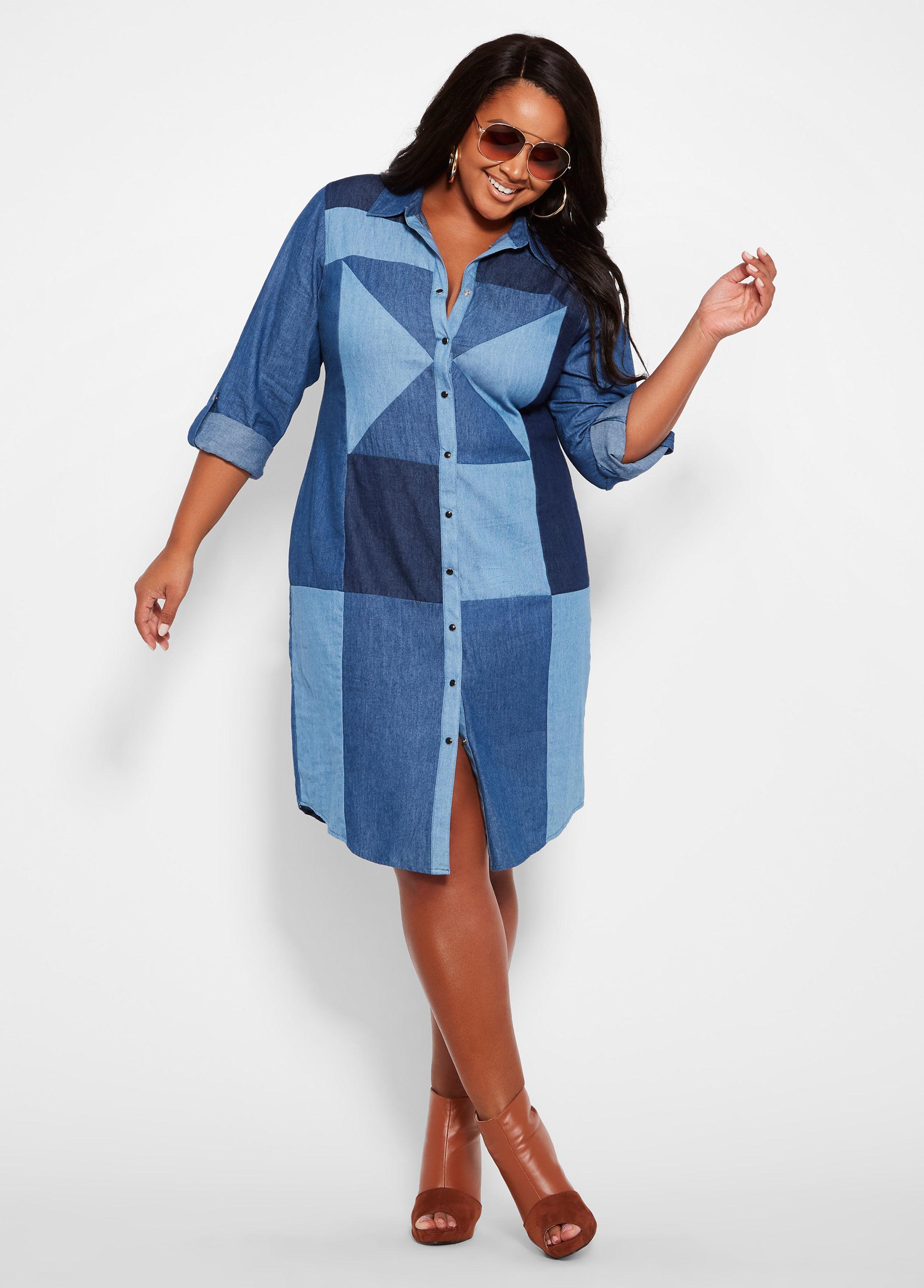 Plus Size Denim Patchwork Shirt Dress