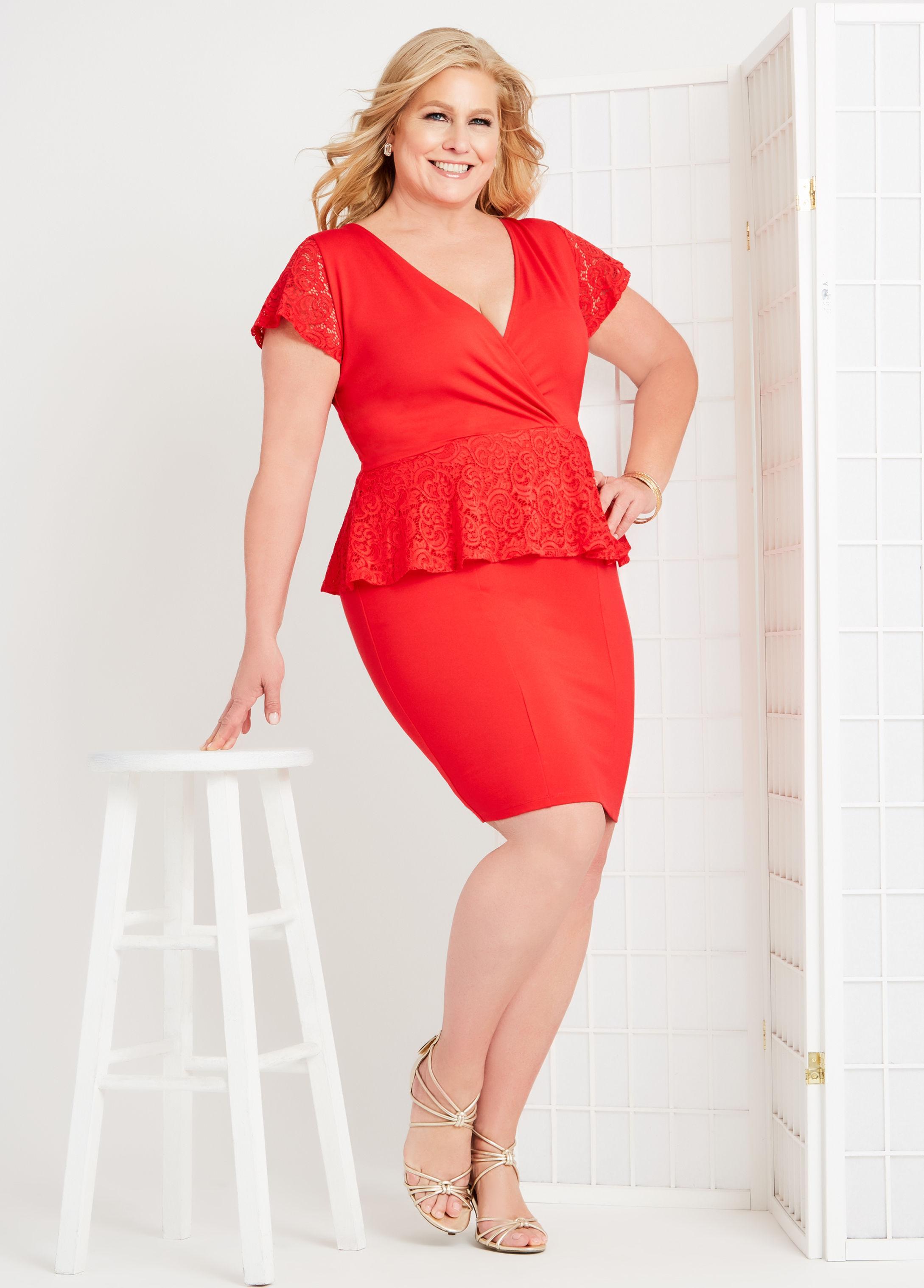 18c1b79f693f9 Ashley Stewart. Women s Red Plus Size Fashion Without Limits By Emme® Lace  Peplum Dress