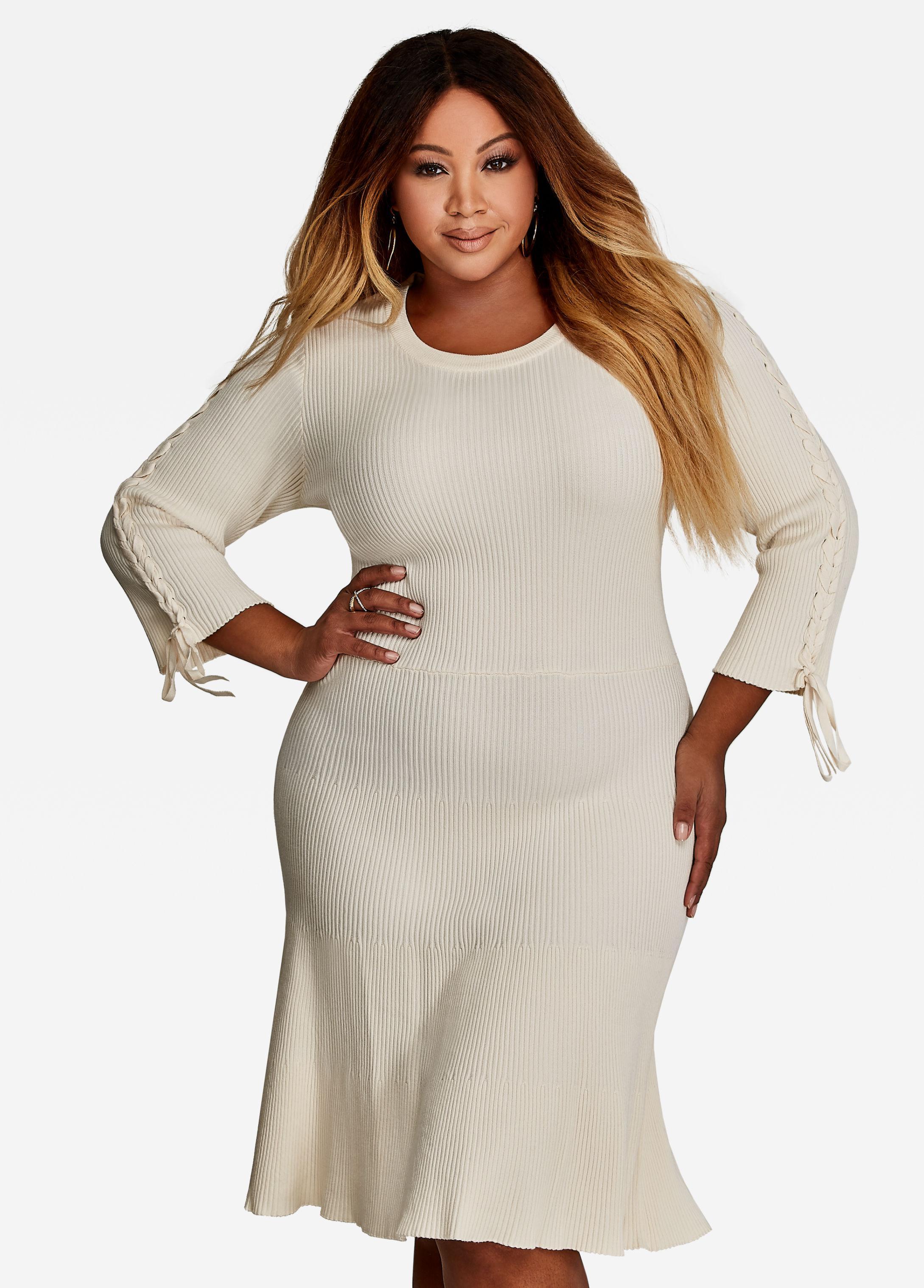 2d25f394dce Lyst - Ashley Stewart Plus Size Lace Up Sweater Dress
