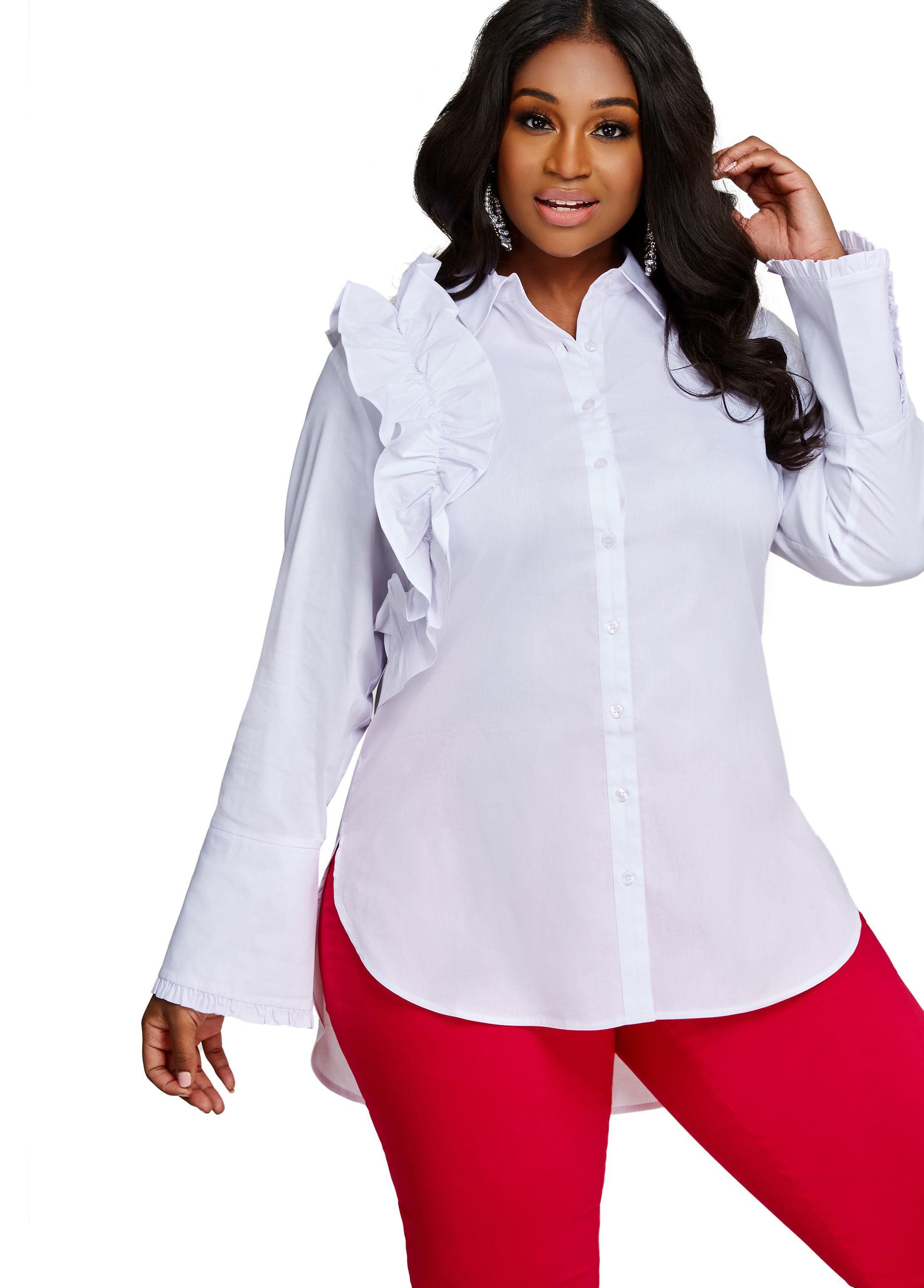 beeb2ef4678 Lyst - Ashley Stewart Ruffle Side Button Shirt in White