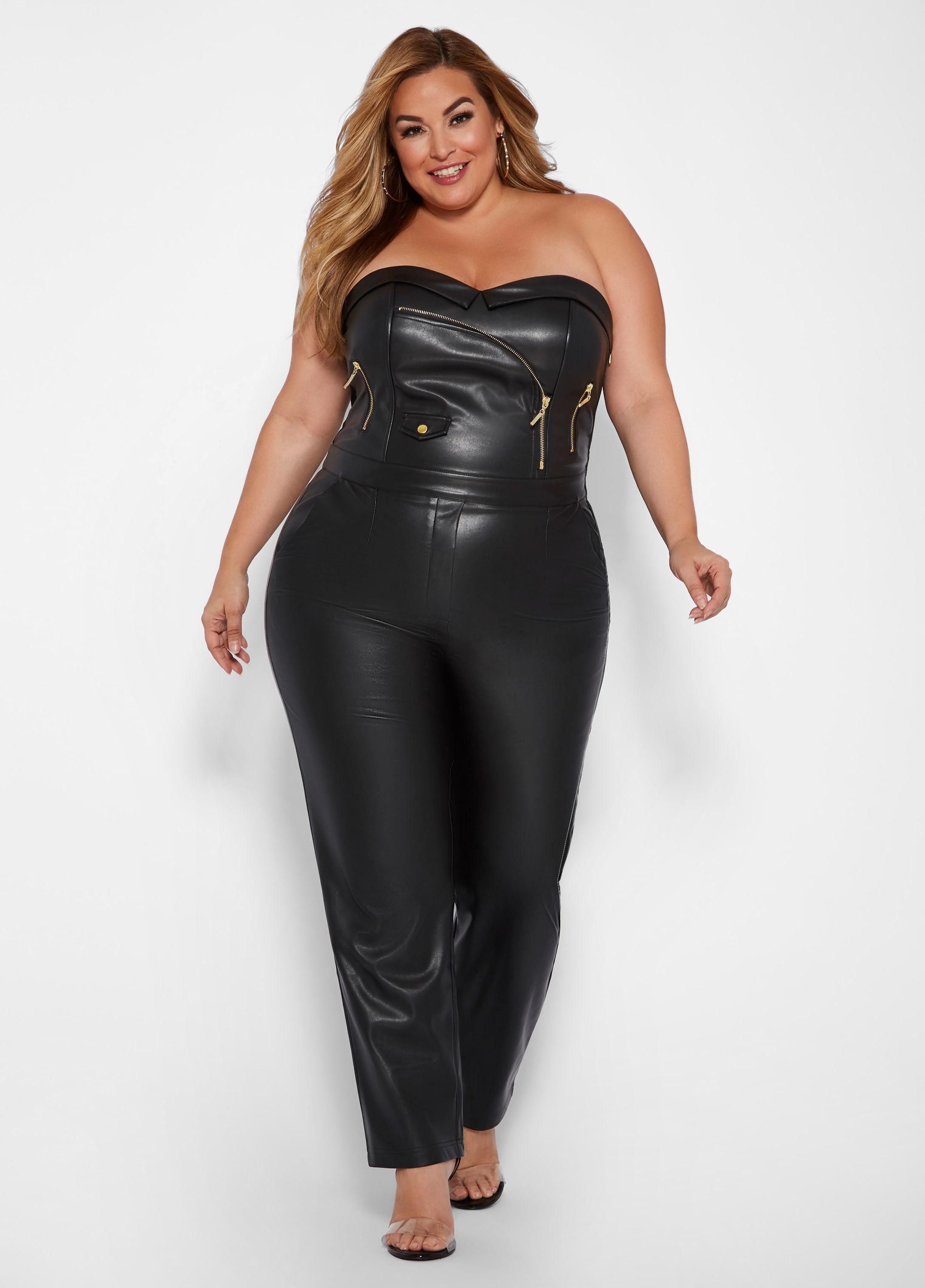 Plus Size Faux Leather Jumpsuit