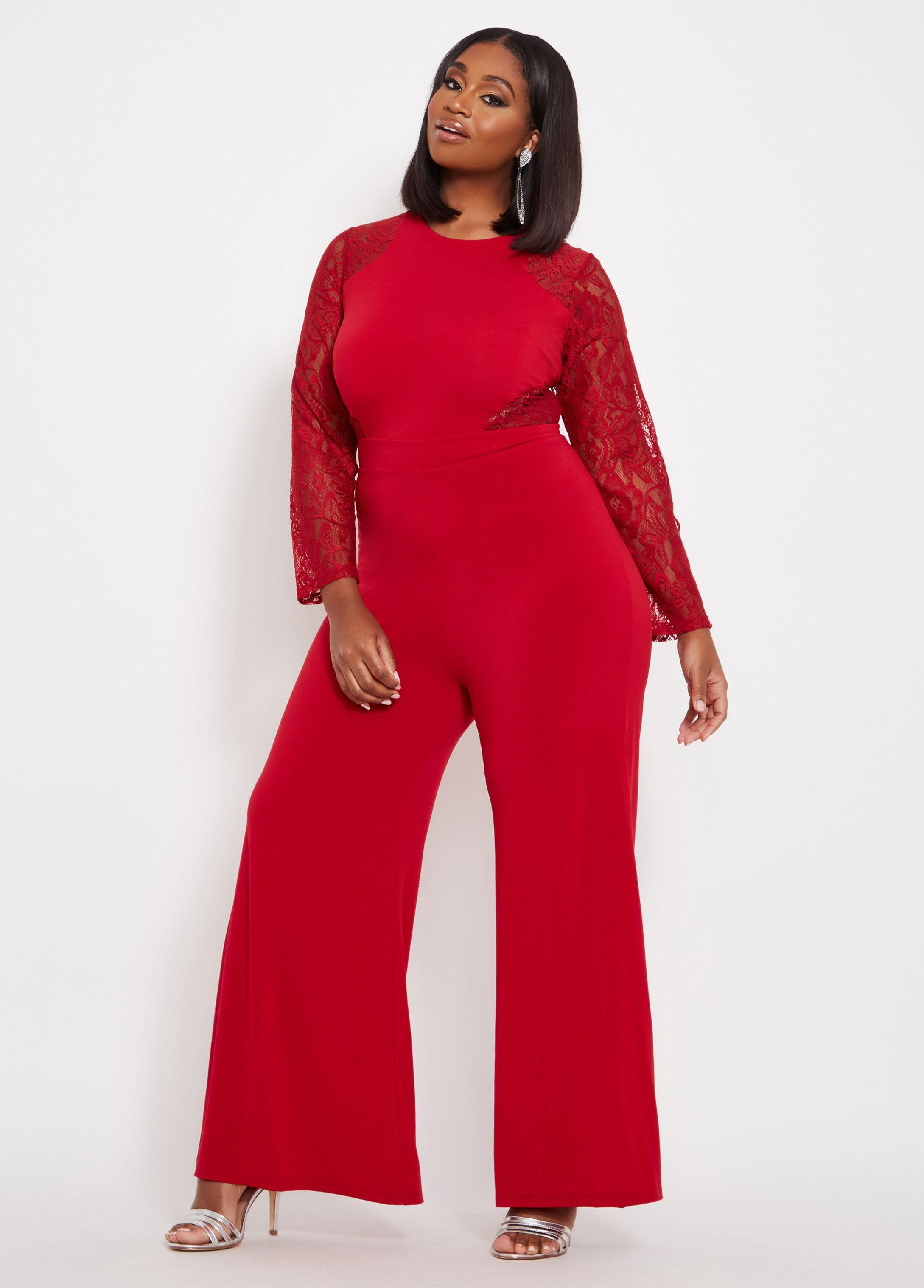 538237943ede Ashley Stewart Plus Size Lace Long Sleeve Jumpsuit in Red - Lyst