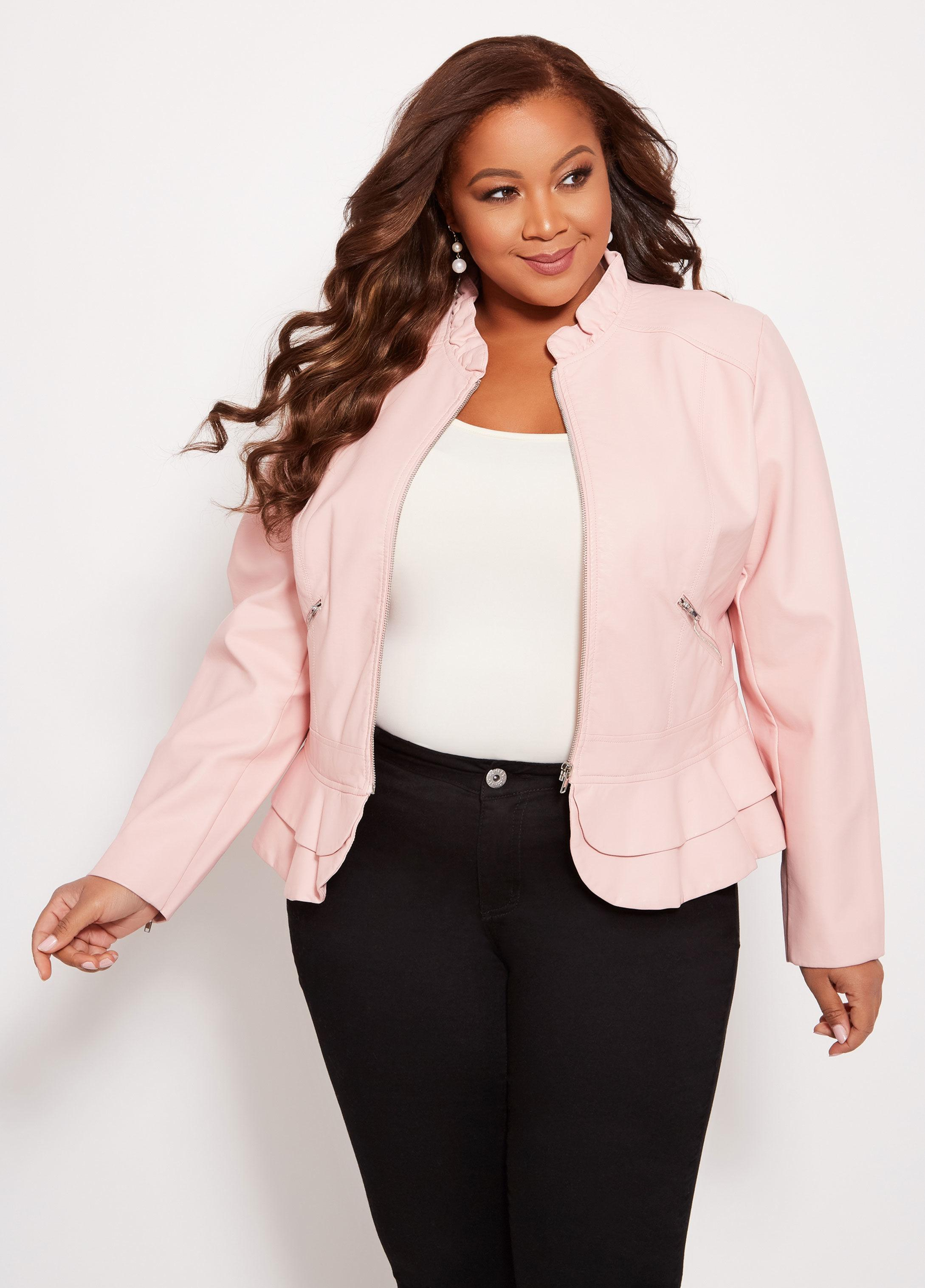 f108260a8e3 Ashley Stewart Plus Size Double Ruffle Faux Leather Jacket in Pink ...