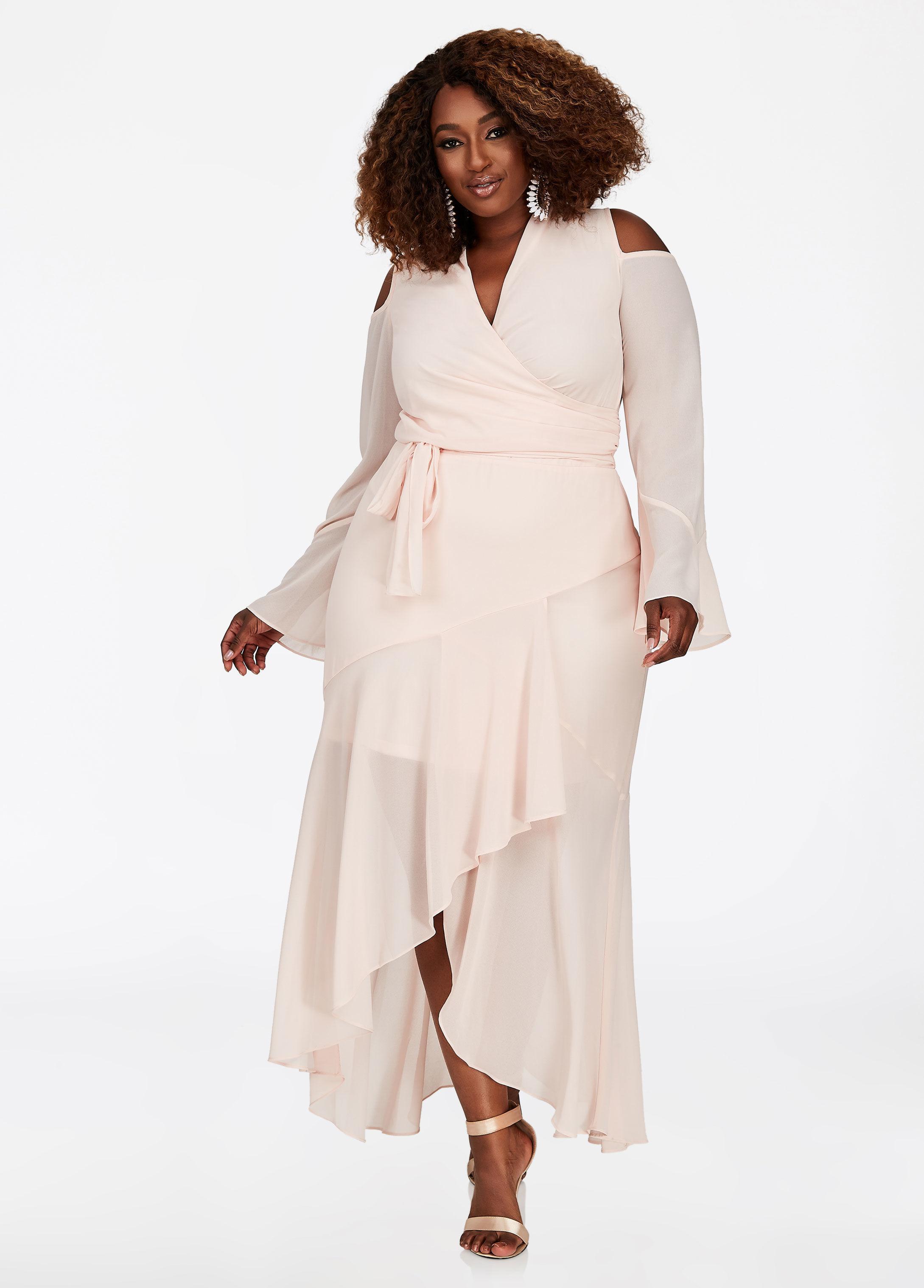 Ashley Stewart Plus Size Bebe Chiffon Belted Maxi Dress in ...