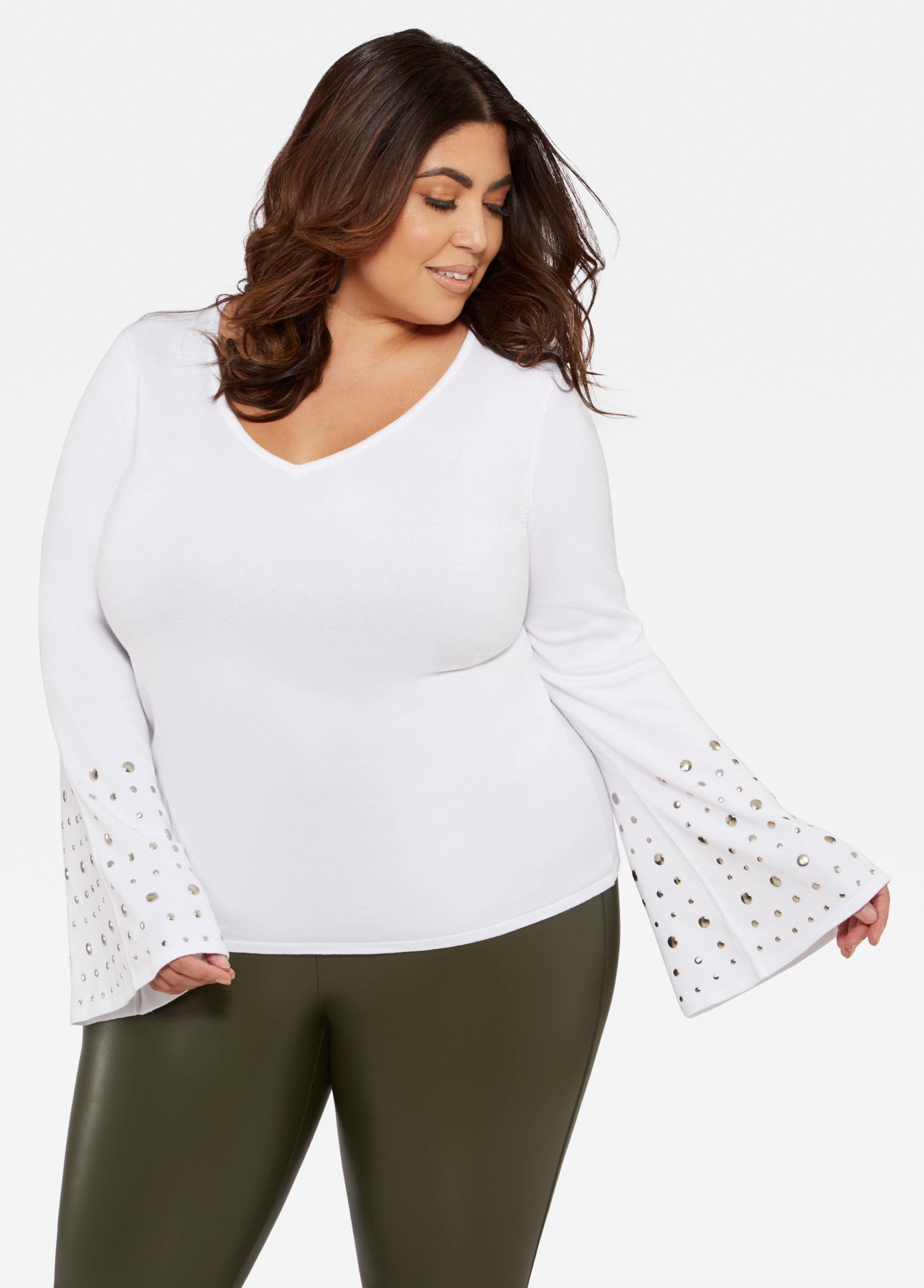 04931c1bc9a Lyst - Ashley Stewart Plus Size Studded Bell Sleeve Top in White