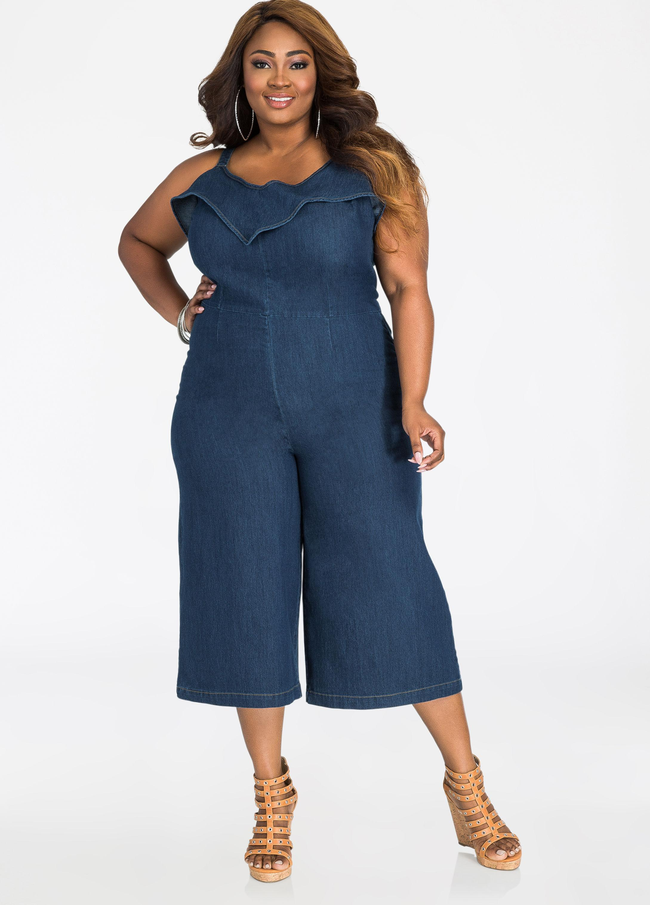 c3cb7acc5801 Gallery. Previously sold at  Ashley Stewart · Women s Denim Jumpsuits ...