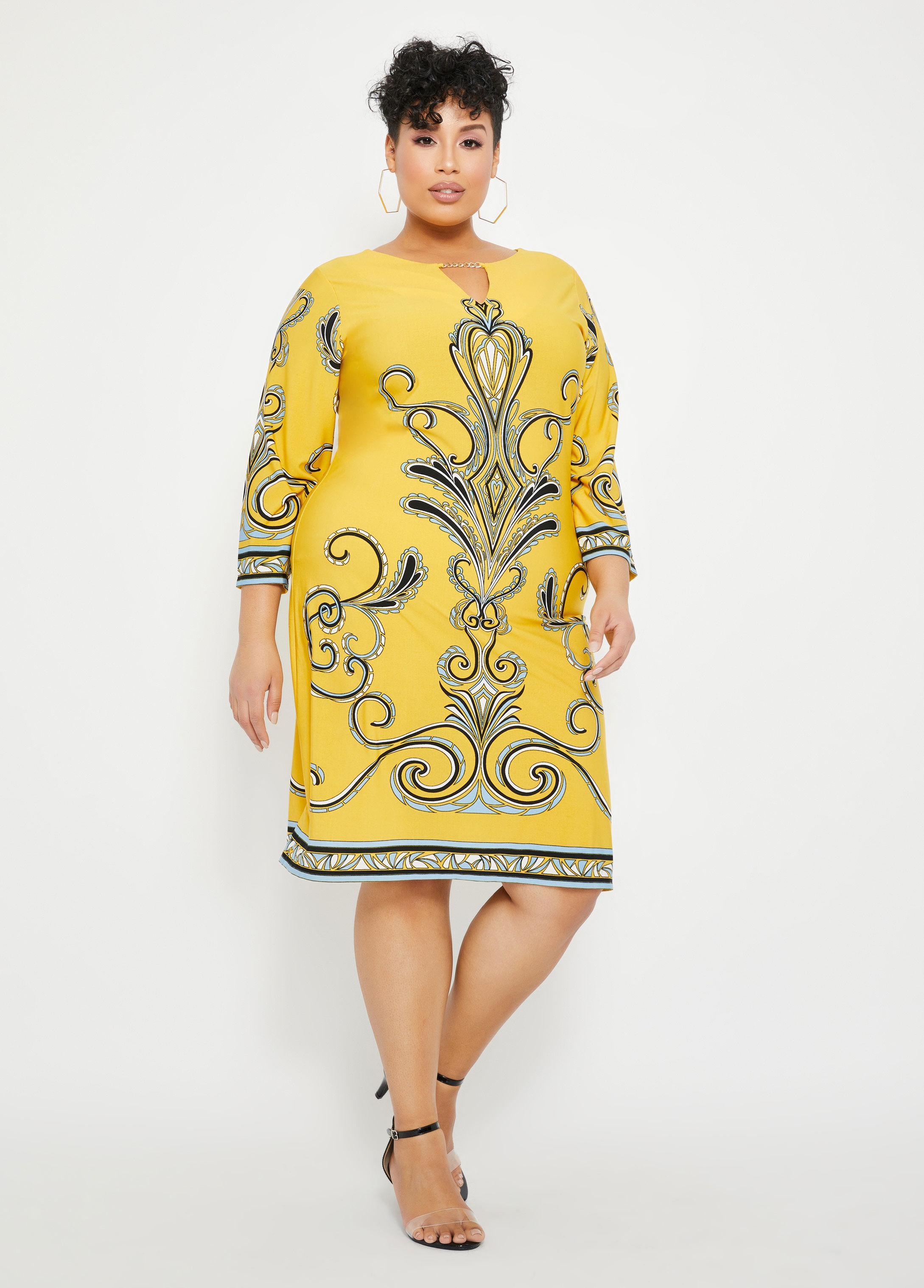 Plus Size Gold Bar Status Print Sheath Dress