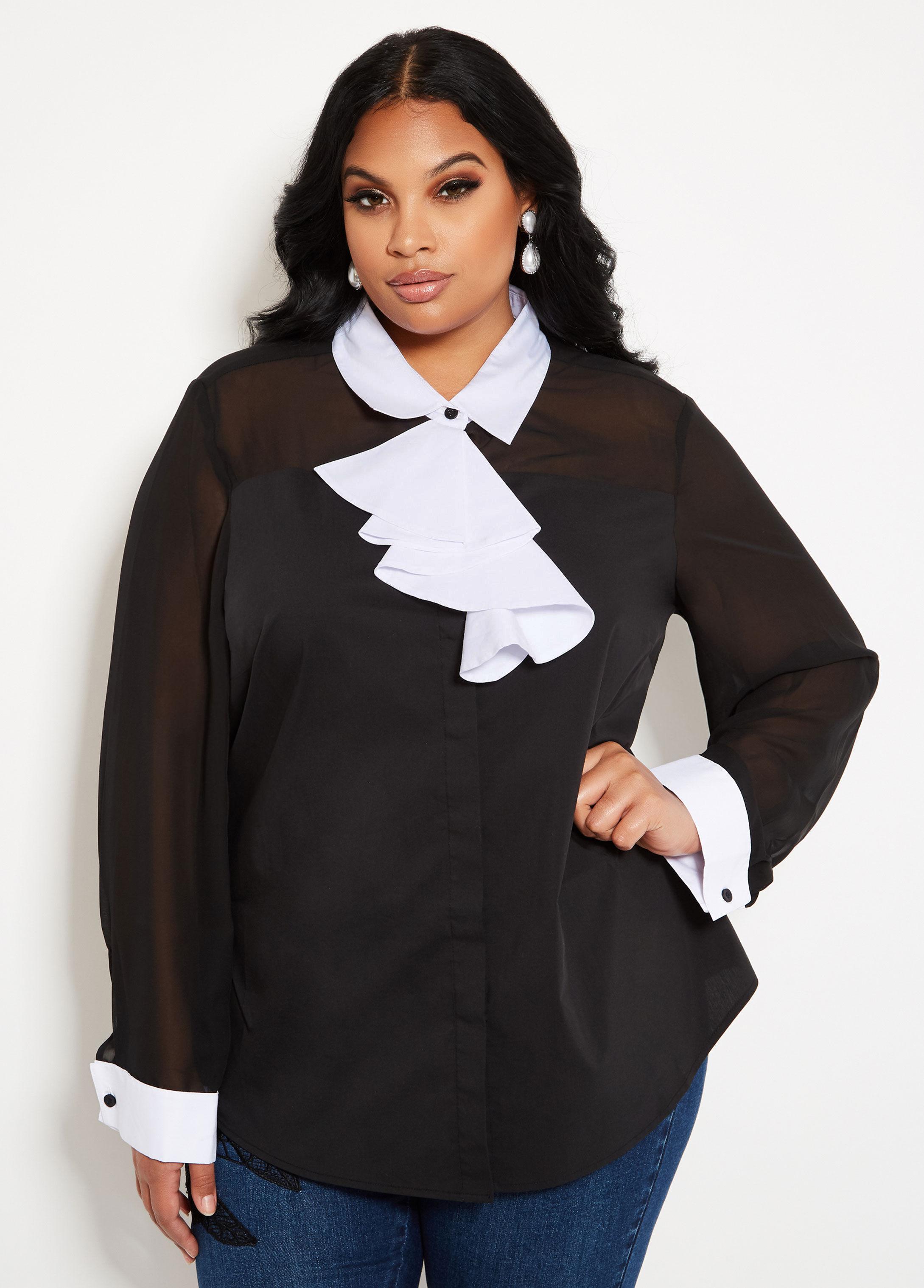 5508d73e1b6 Lyst - Ashley Stewart Plus Size Contrast Cascade Ruffle Blouse in Black