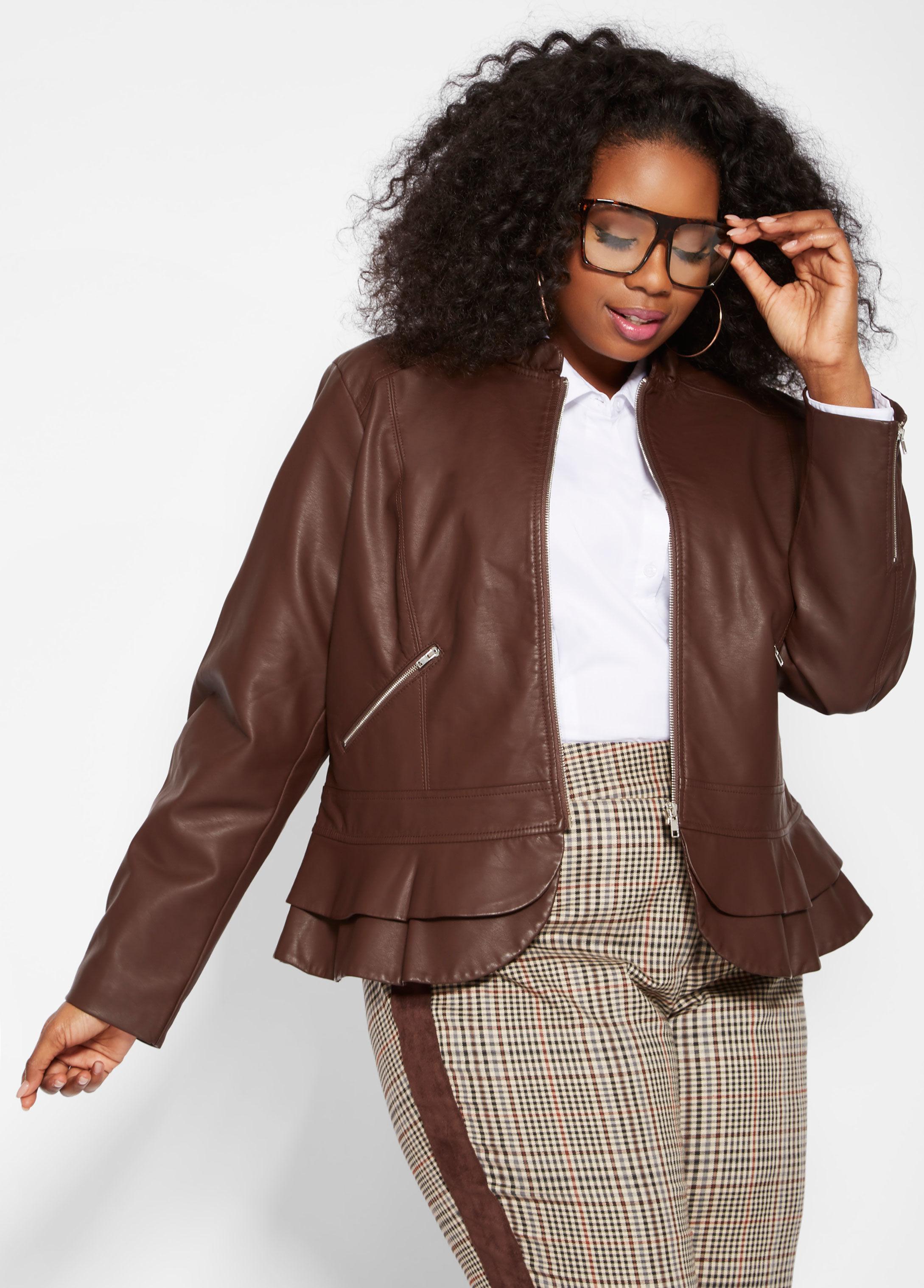 a7c77c5dad73d Lyst - Ashley Stewart Plus Size Double Peplum Faux Leather Jacket in ...