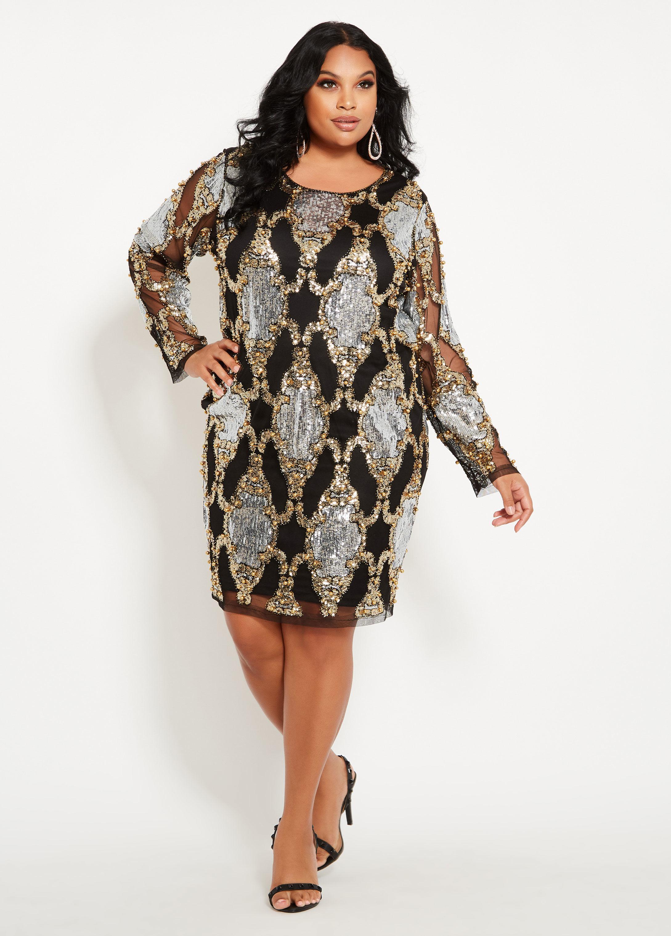 Women\'s Plus Size Mirror Pattern Sequin Dress