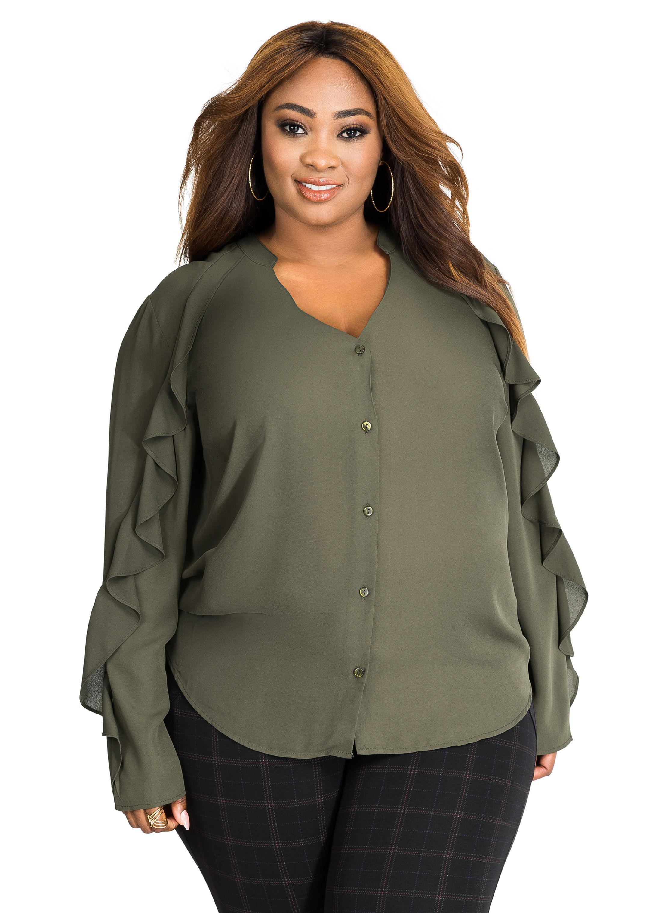 4e39d370ae9 Lyst - Ashley Stewart Ruffle Long Sleeve Button Up Blouse in Green
