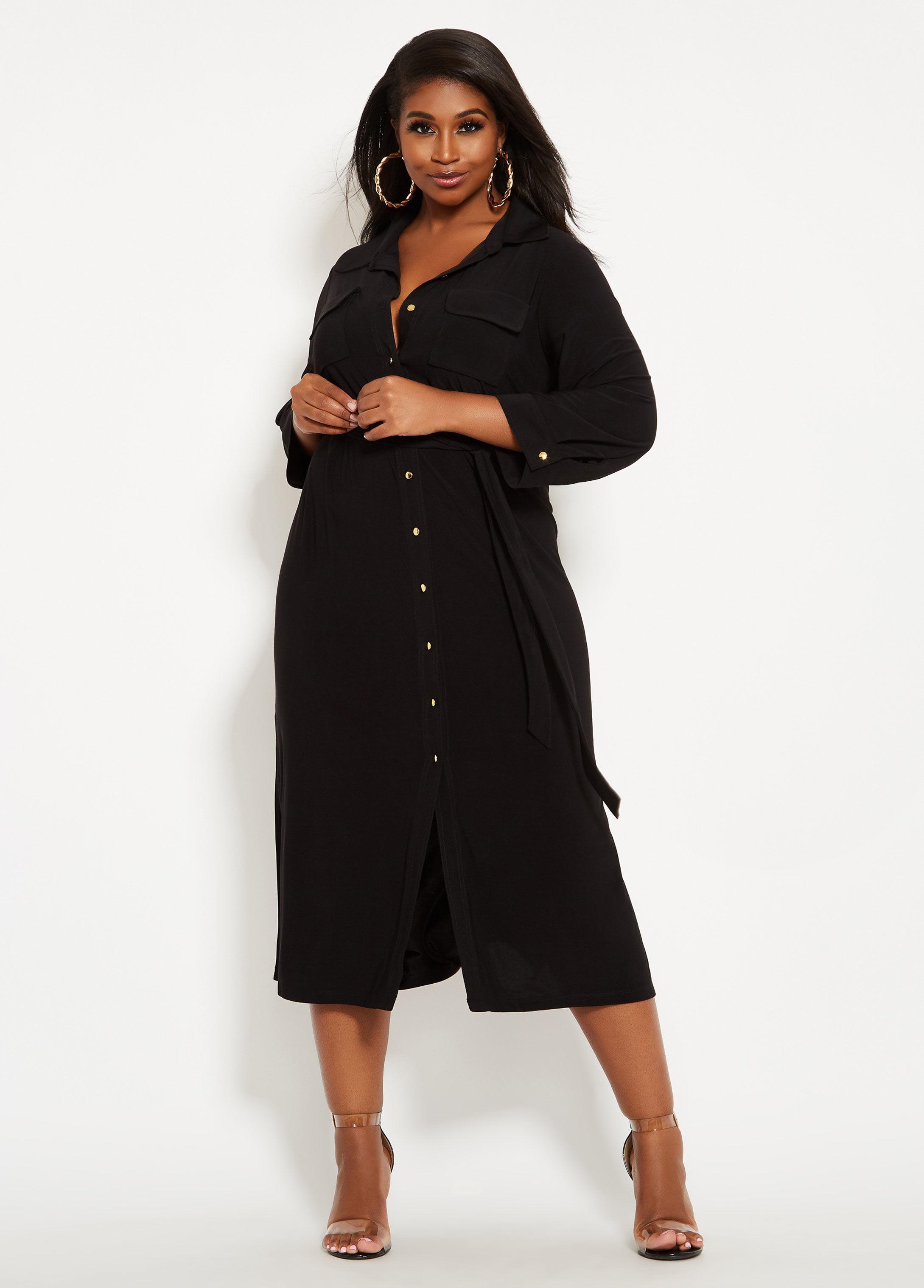 fa7fdc76296 Lyst - Ashley Stewart Plus Size Button Front Maxi Shirt Dress in Black