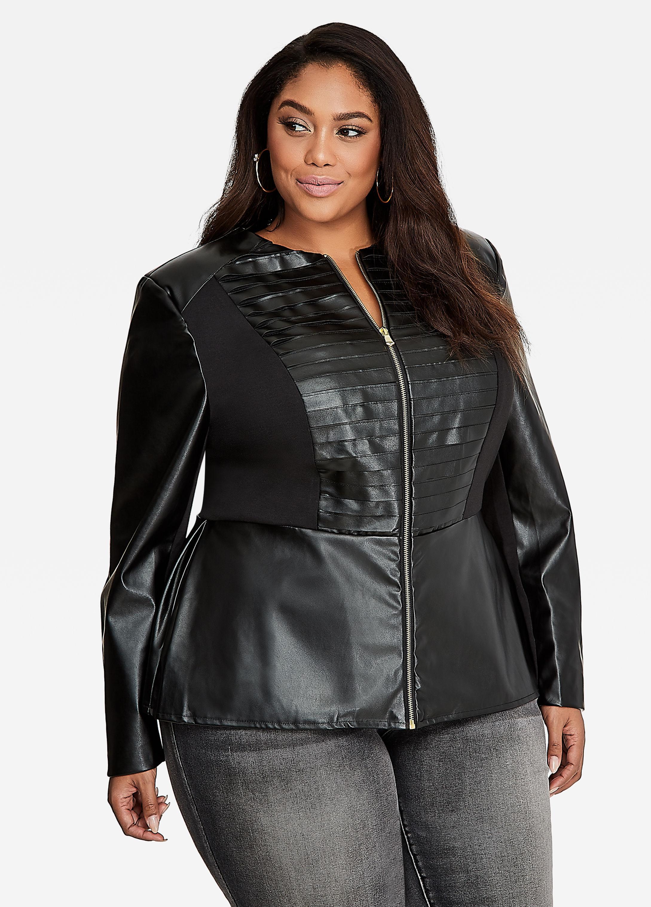 fb72679b4fe Lyst - Ashley Stewart Ponte Leather Combo Peplum Jacket in Black