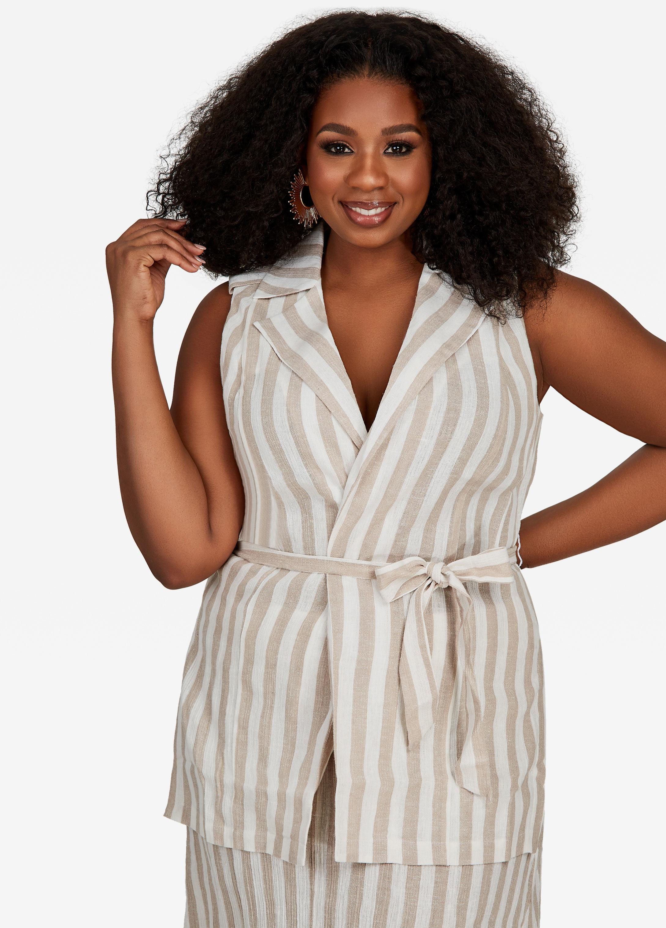 8e7f2966351 Lyst - Ashley Stewart Plus Size Striped Linen Sleeveless Jacket