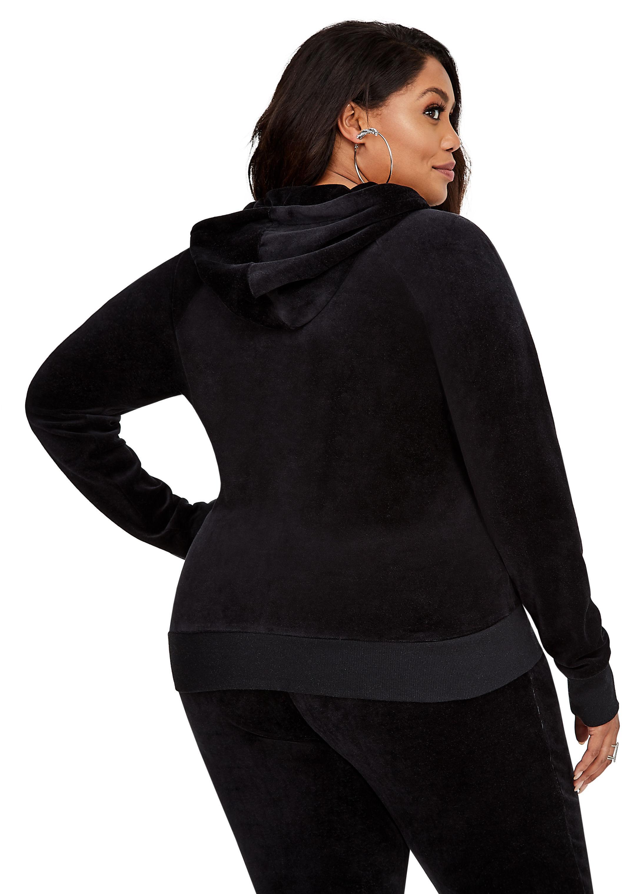 57946806604906 Lyst - Ashley Stewart Bebe Velour Zip-up Hoodie Jacket in Black