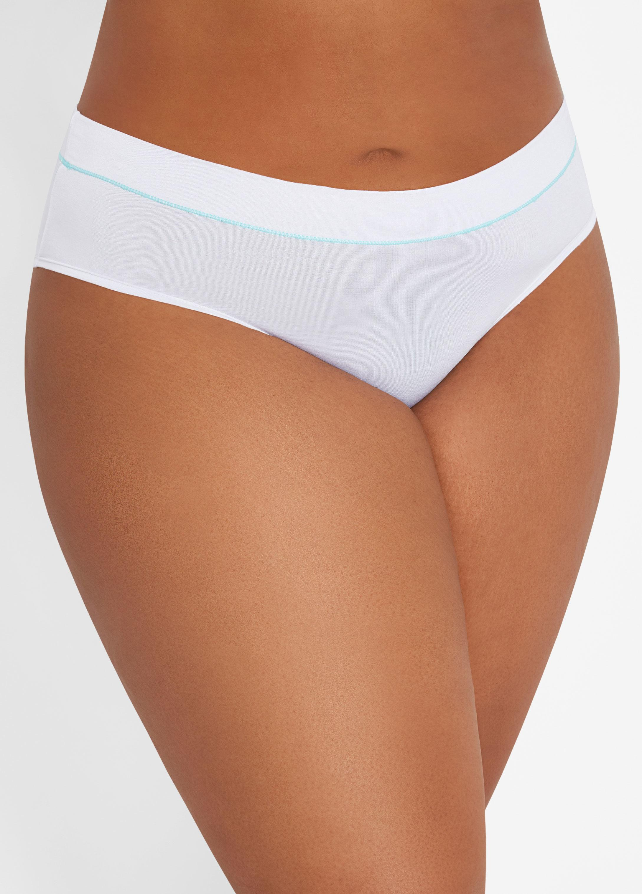 35831ca69f8 Lyst - Ashley Stewart Plus Size Cotton Contrast Stripe Hipster in White